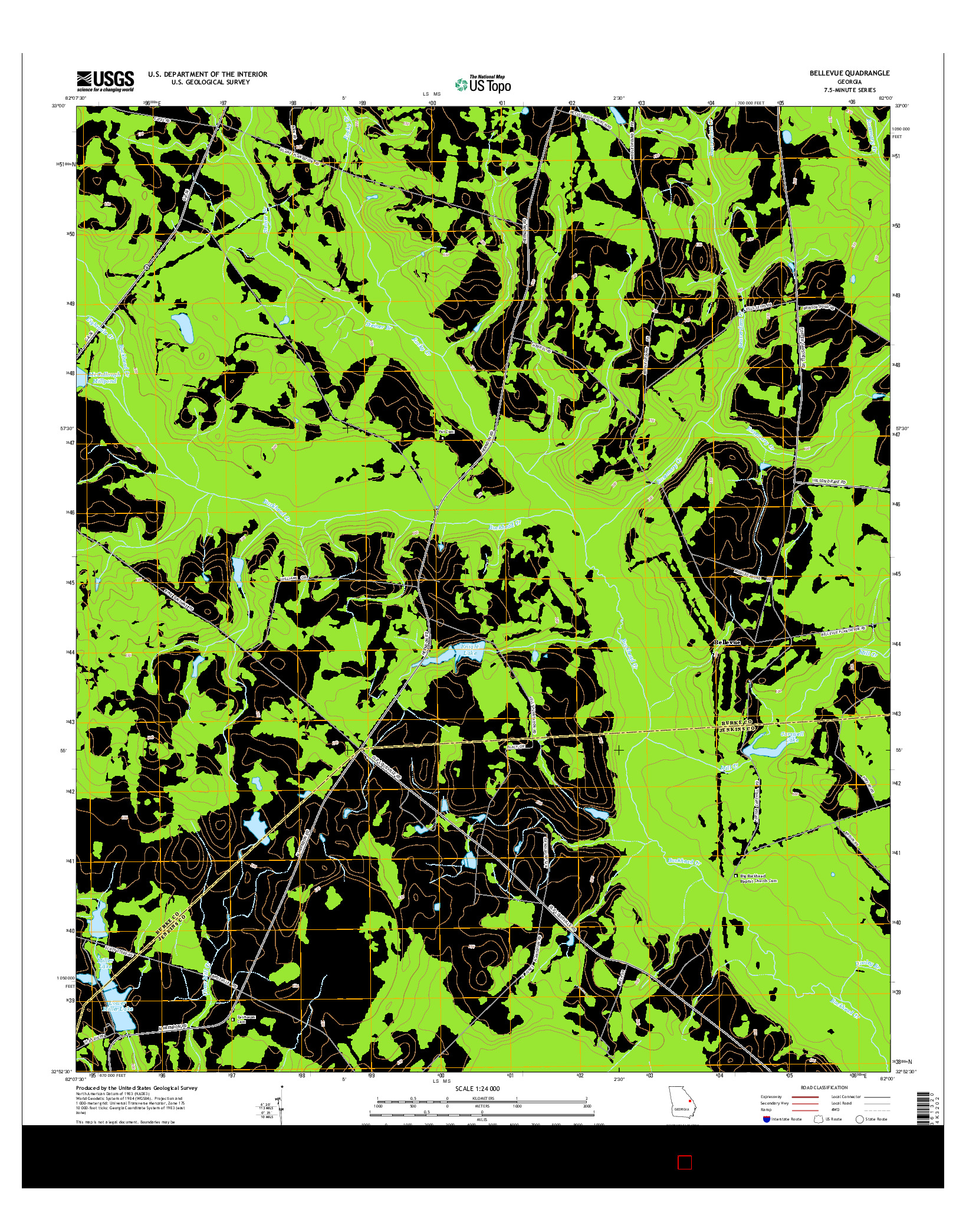 USGS US TOPO 7.5-MINUTE MAP FOR BELLEVUE, GA 2014