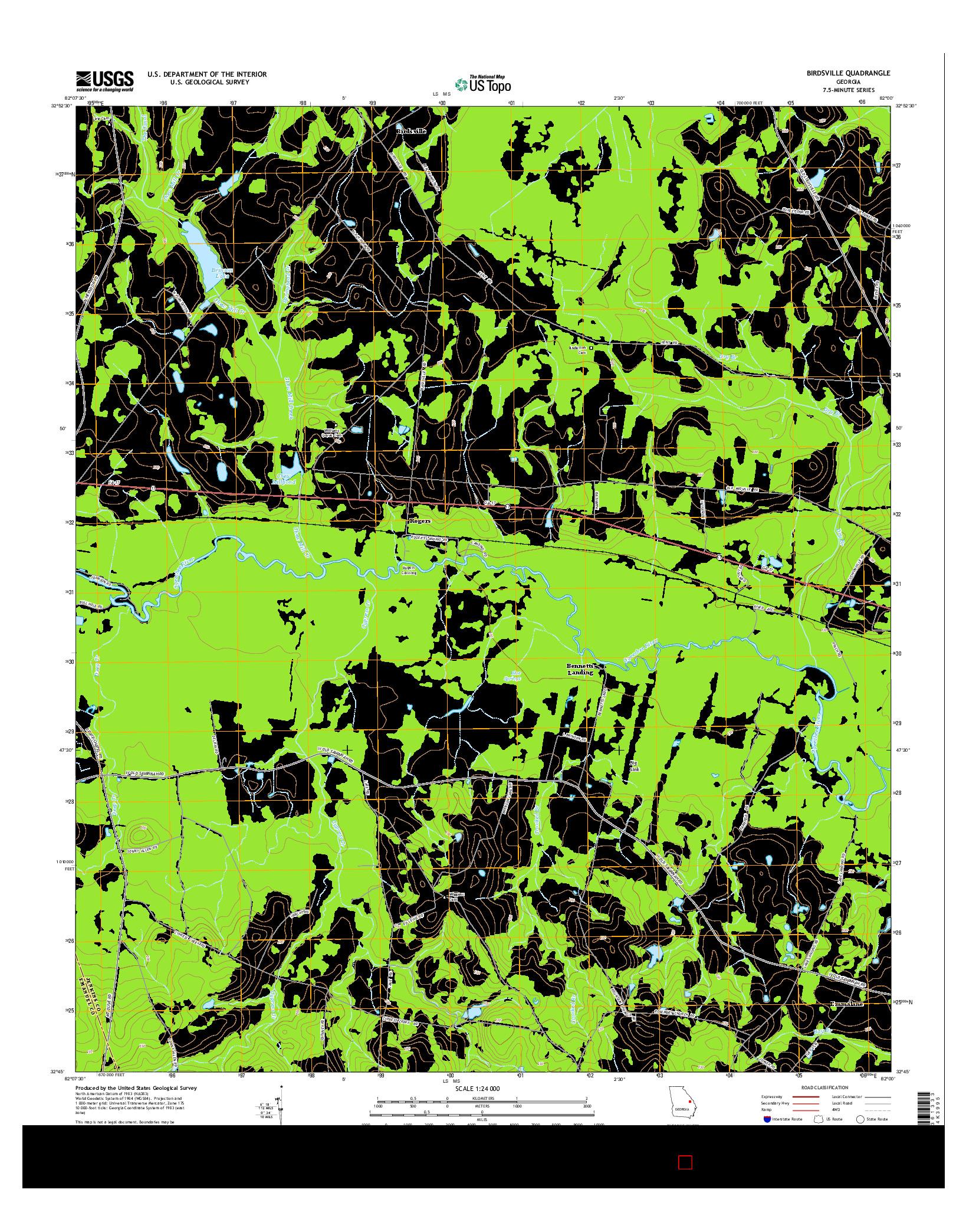 USGS US TOPO 7.5-MINUTE MAP FOR BIRDSVILLE, GA 2014
