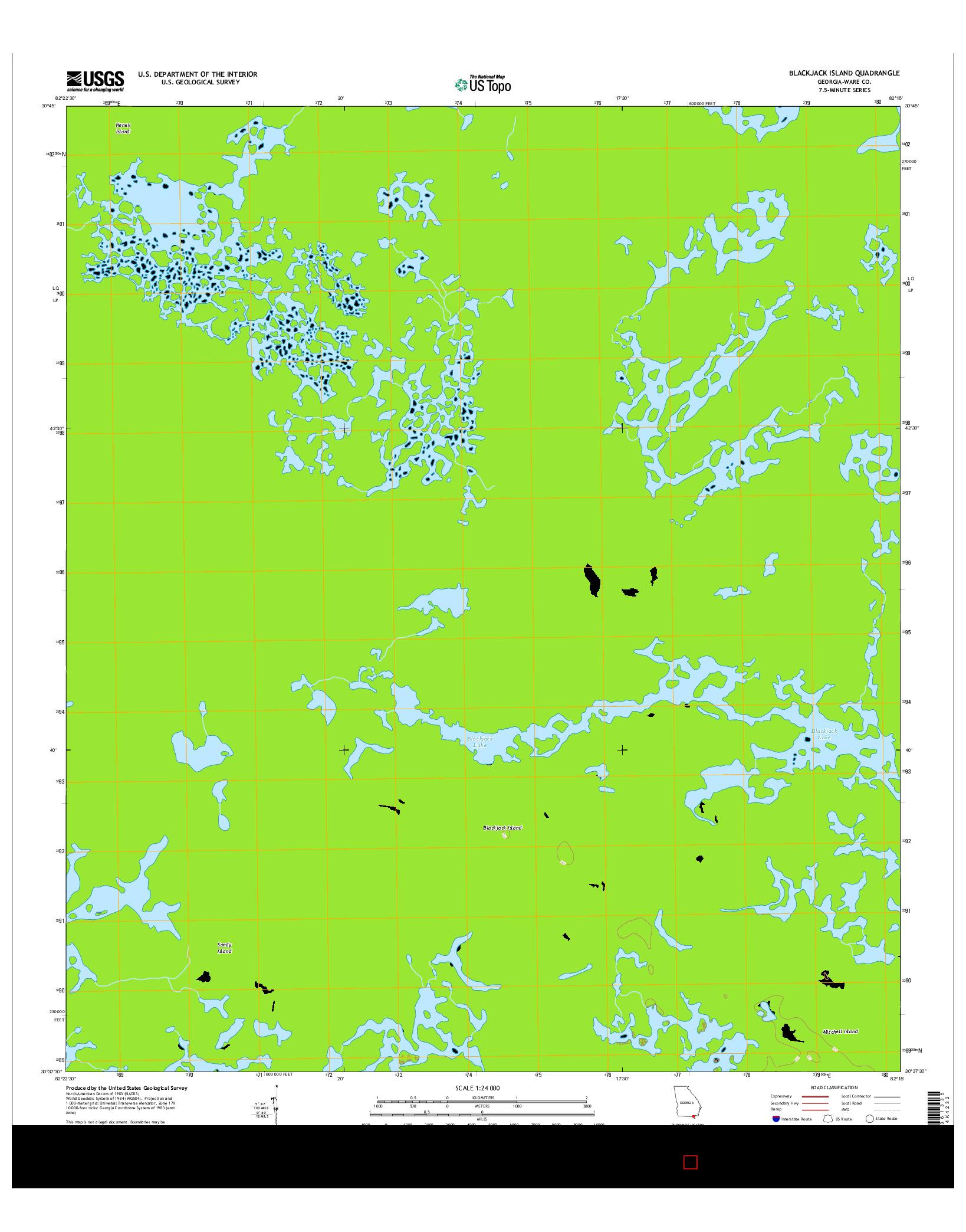 USGS US TOPO 7.5-MINUTE MAP FOR BLACKJACK ISLAND, GA 2014