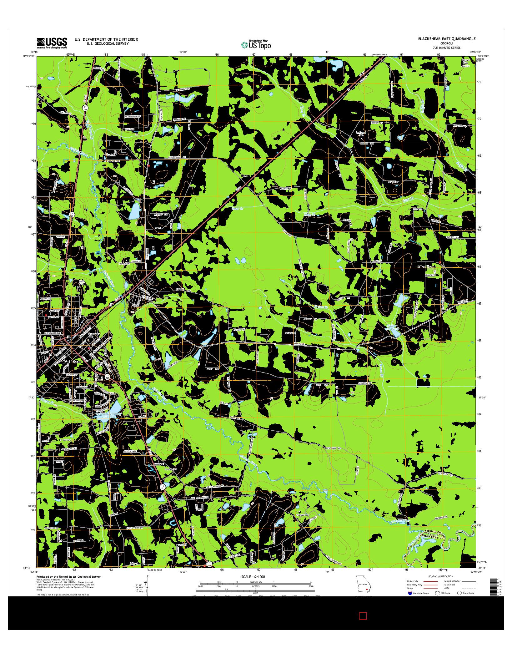 USGS US TOPO 7.5-MINUTE MAP FOR BLACKSHEAR EAST, GA 2014