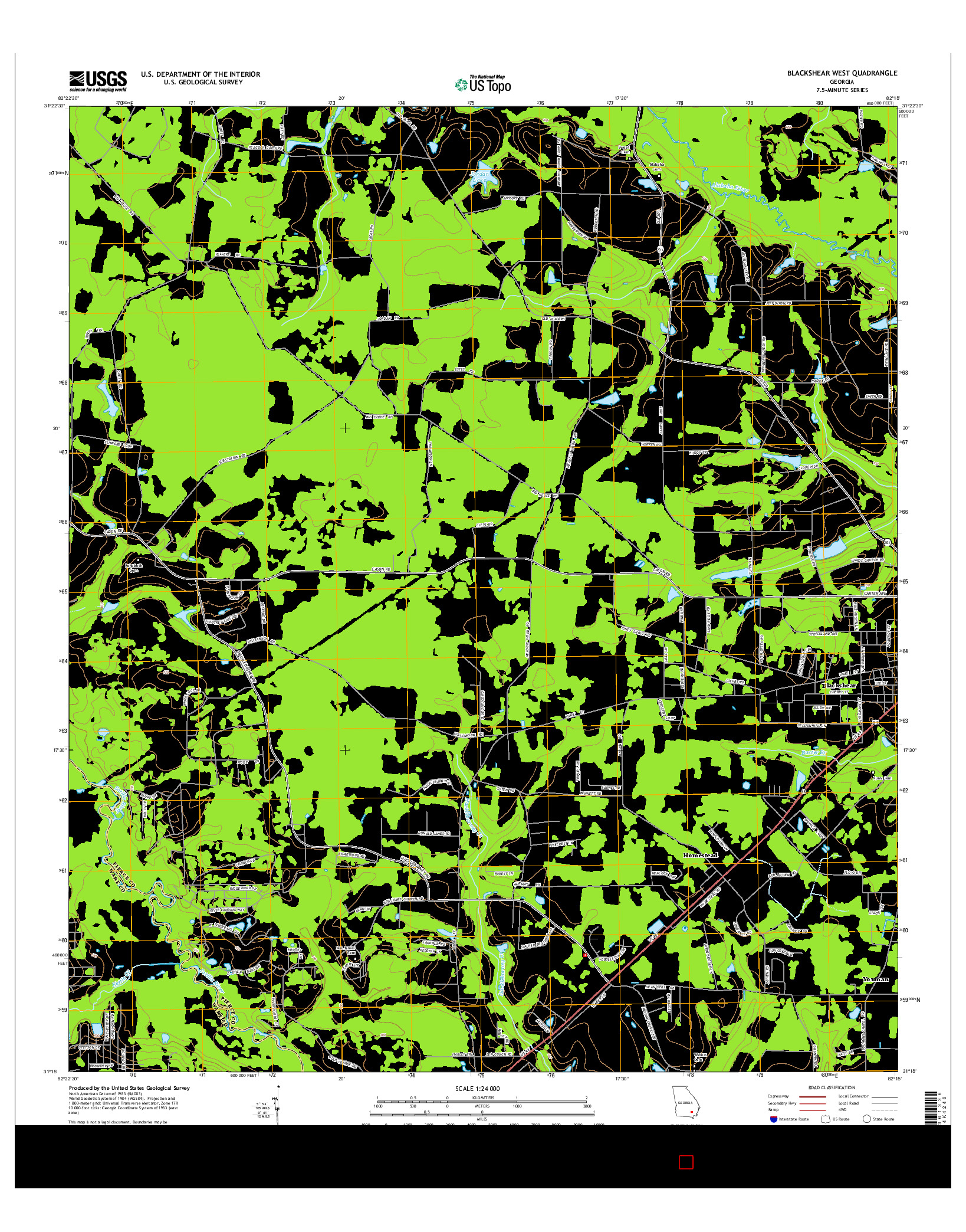 USGS US TOPO 7.5-MINUTE MAP FOR BLACKSHEAR WEST, GA 2014