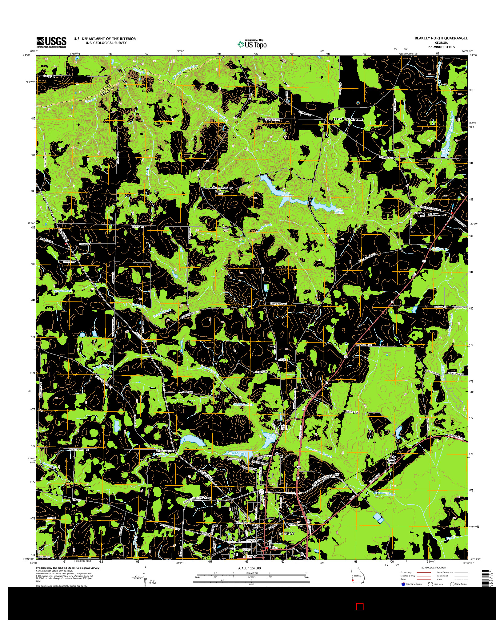 USGS US TOPO 7.5-MINUTE MAP FOR BLAKELY NORTH, GA 2014