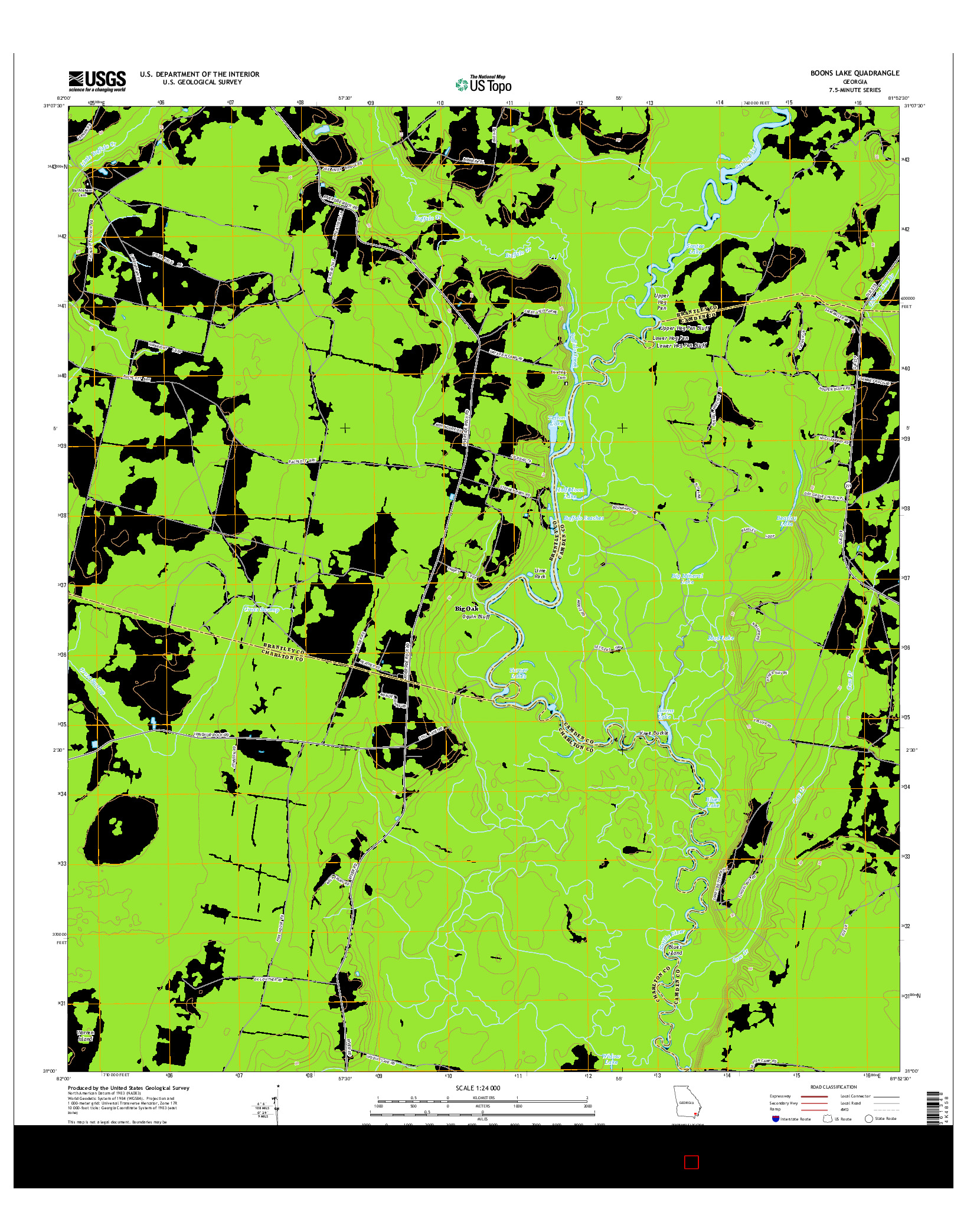 USGS US TOPO 7.5-MINUTE MAP FOR BOONS LAKE, GA 2014