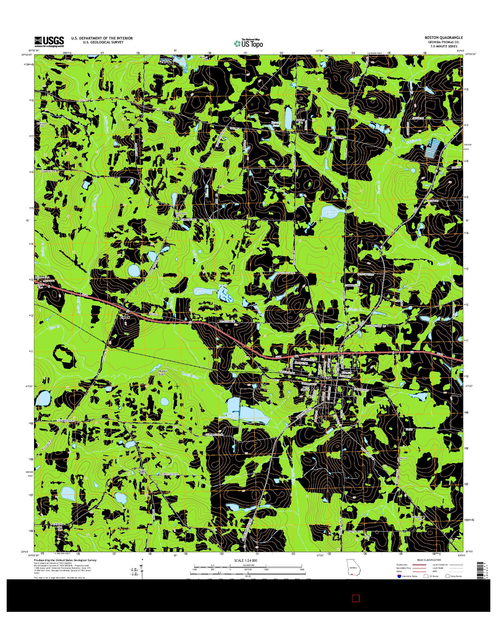 USGS US TOPO 7.5-MINUTE MAP FOR BOSTON, GA 2014
