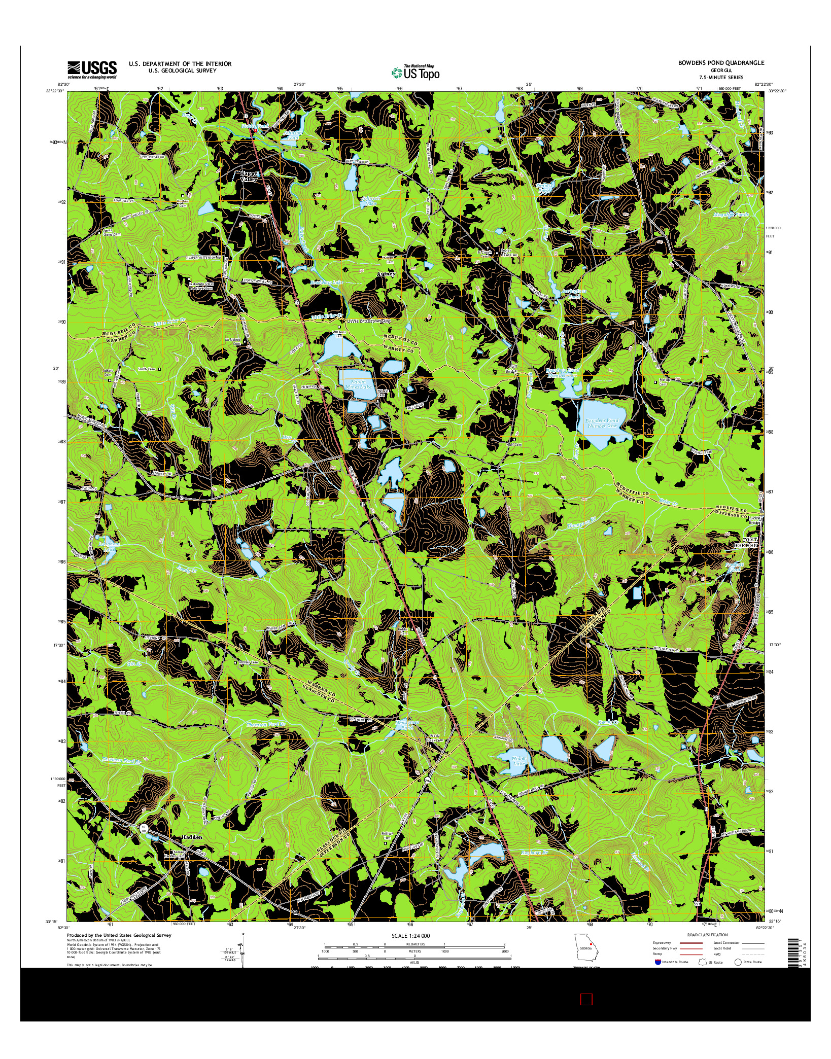 USGS US TOPO 7.5-MINUTE MAP FOR BOWDENS POND, GA 2014