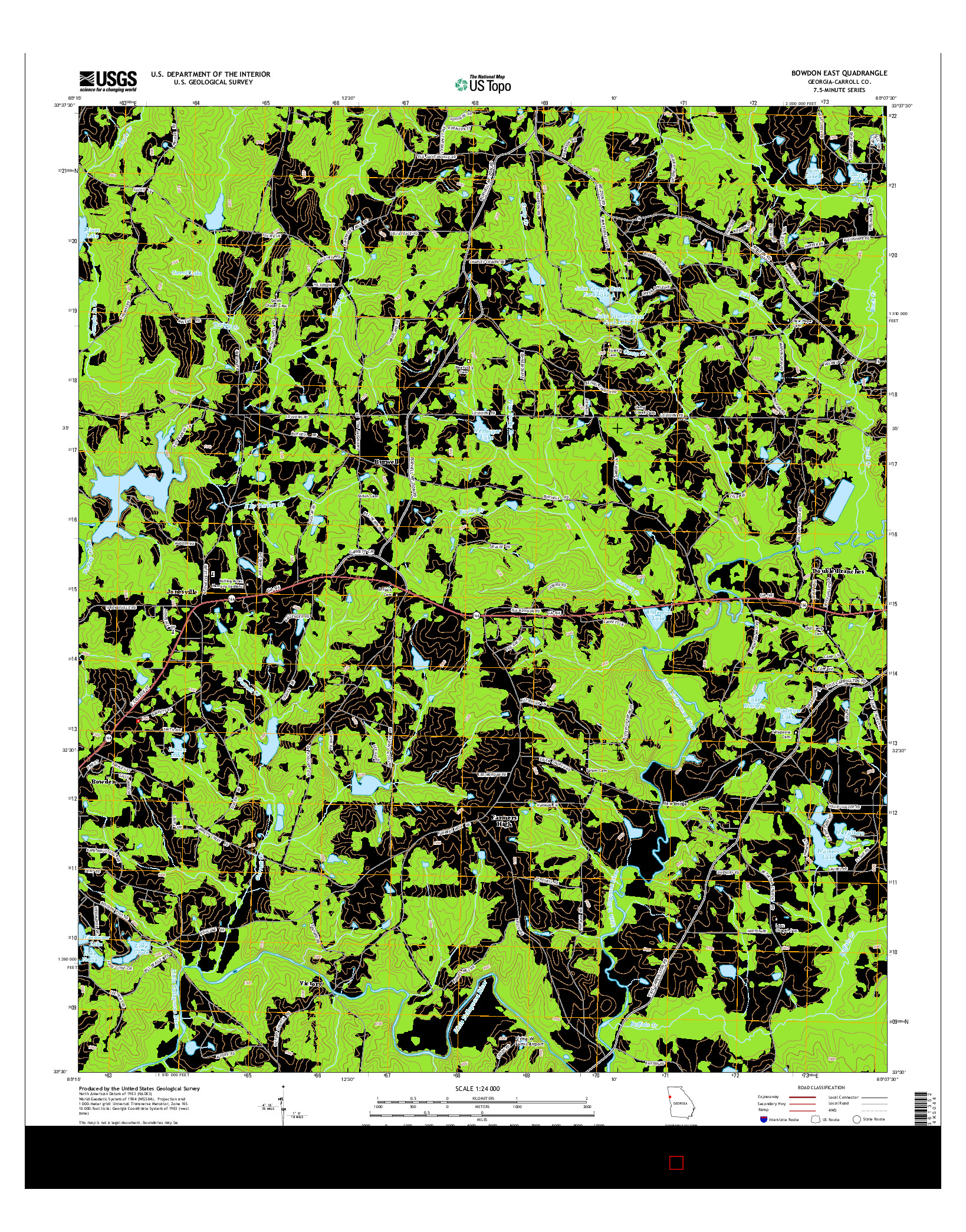USGS US TOPO 7.5-MINUTE MAP FOR BOWDON EAST, GA 2014