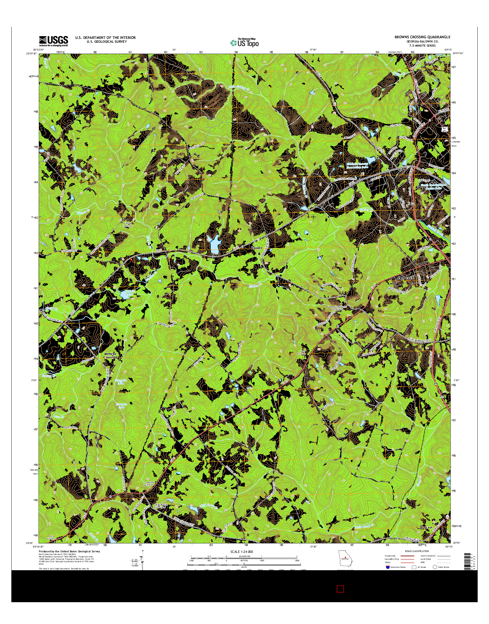 USGS US TOPO 7.5-MINUTE MAP FOR BROWNS CROSSING, GA 2014