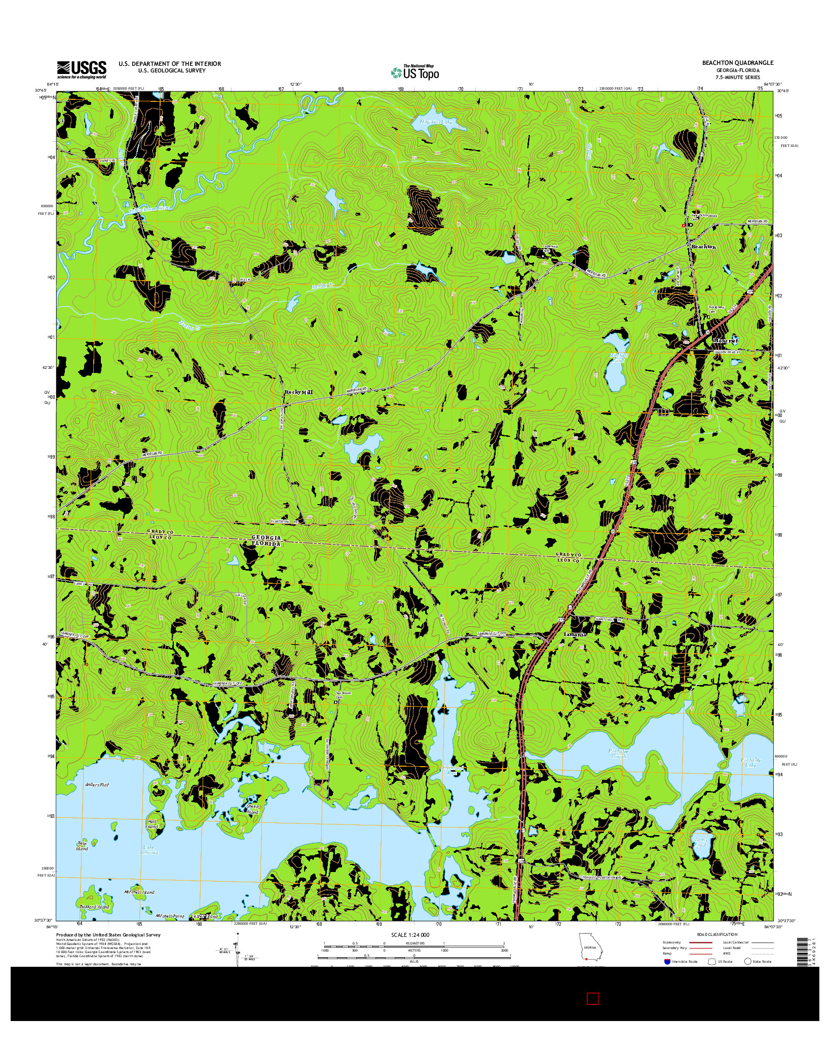 USGS US TOPO 7.5-MINUTE MAP FOR BEACHTON, GA-FL 2014