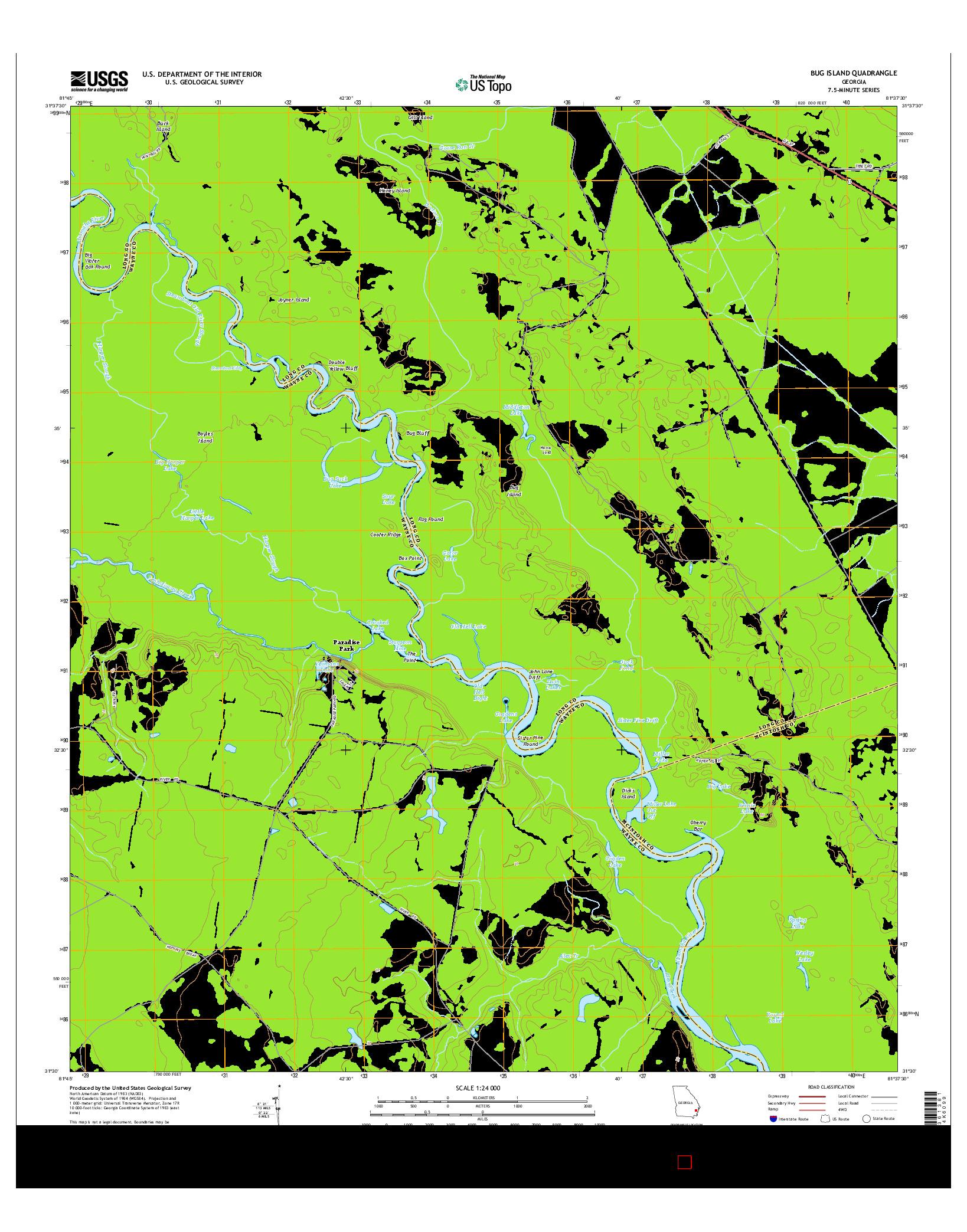 USGS US TOPO 7.5-MINUTE MAP FOR BUG ISLAND, GA 2014