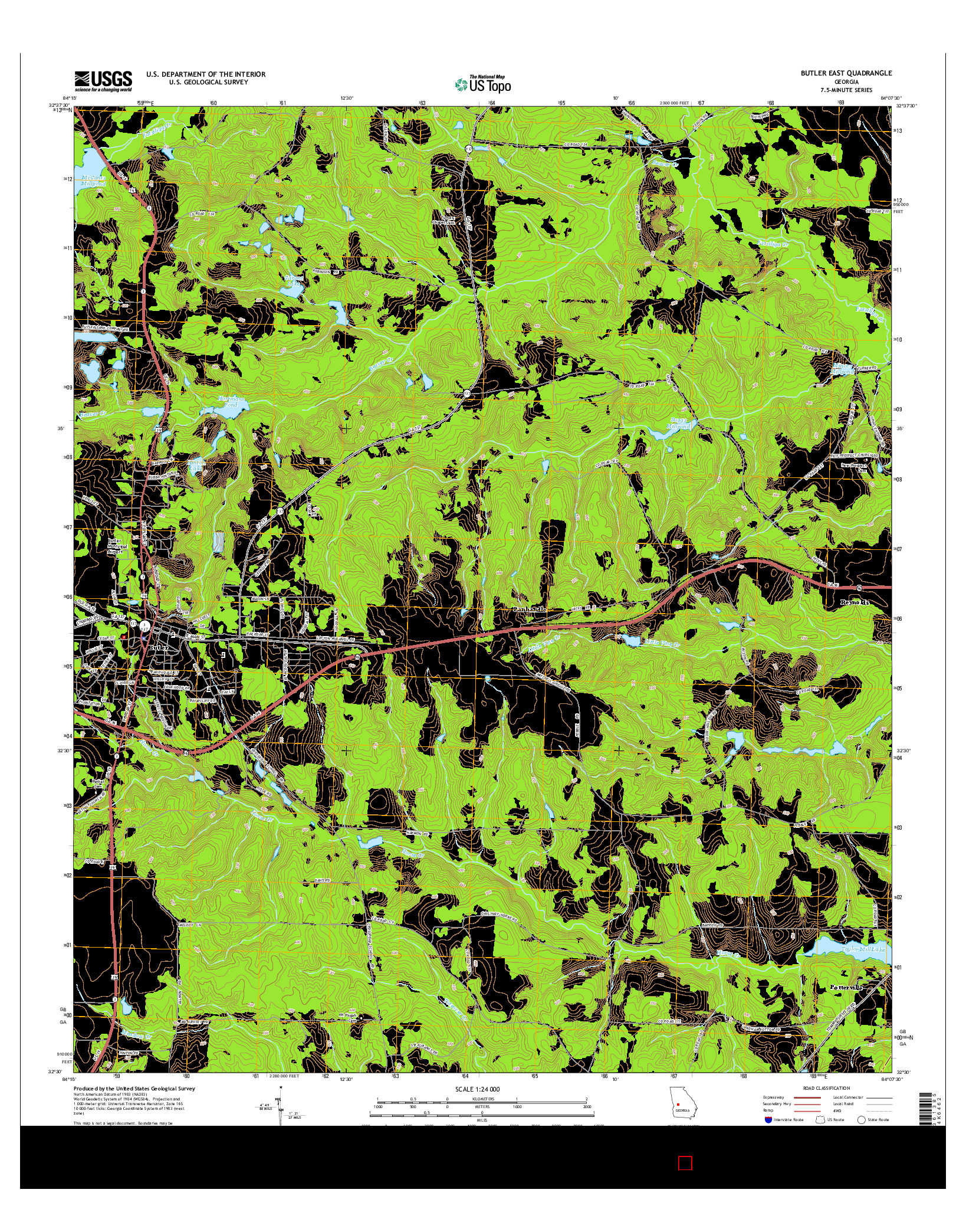 USGS US TOPO 7.5-MINUTE MAP FOR BUTLER EAST, GA 2014