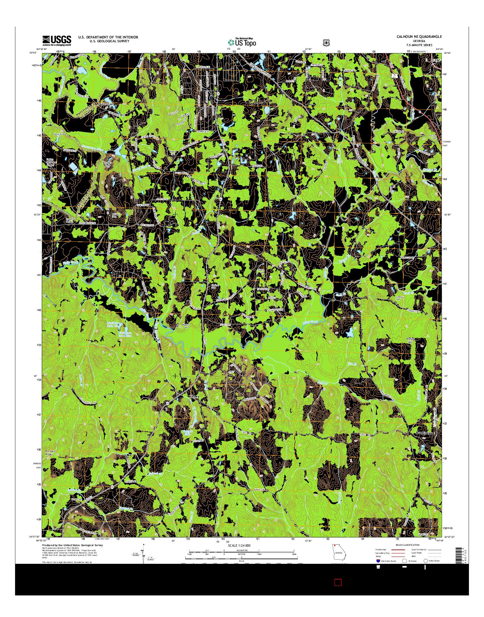 USGS US TOPO 7.5-MINUTE MAP FOR CALHOUN NE, GA 2014