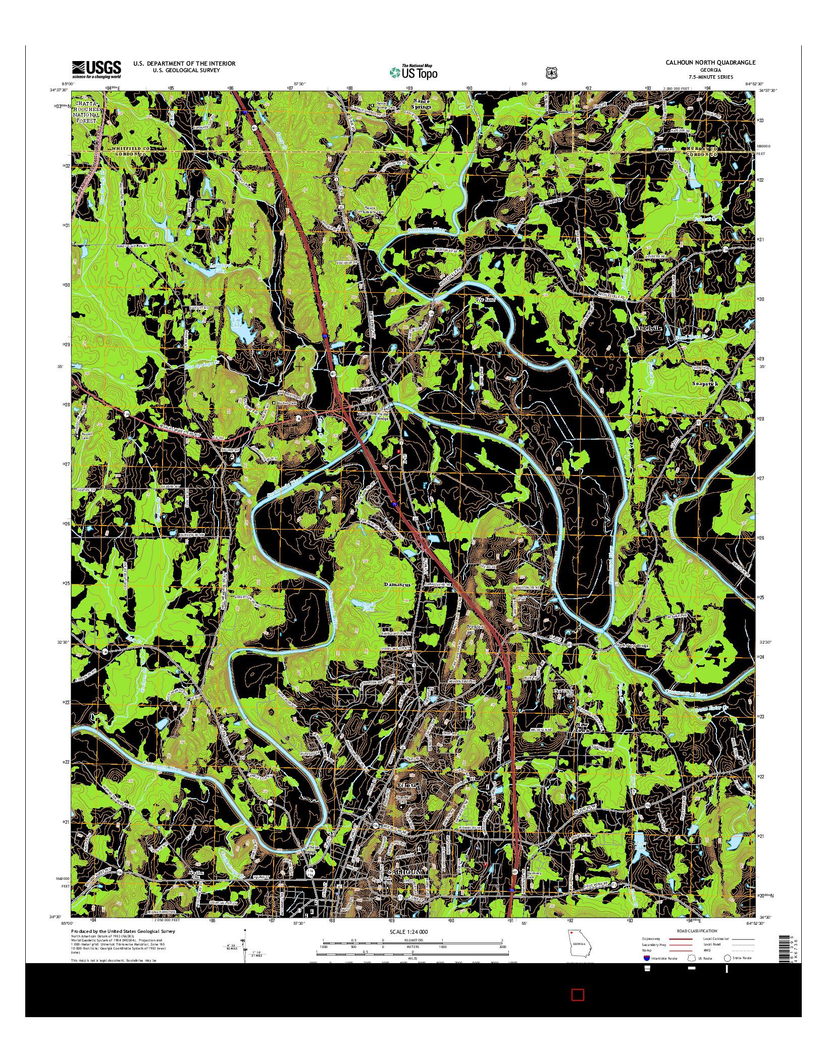 USGS US TOPO 7.5-MINUTE MAP FOR CALHOUN NORTH, GA 2014