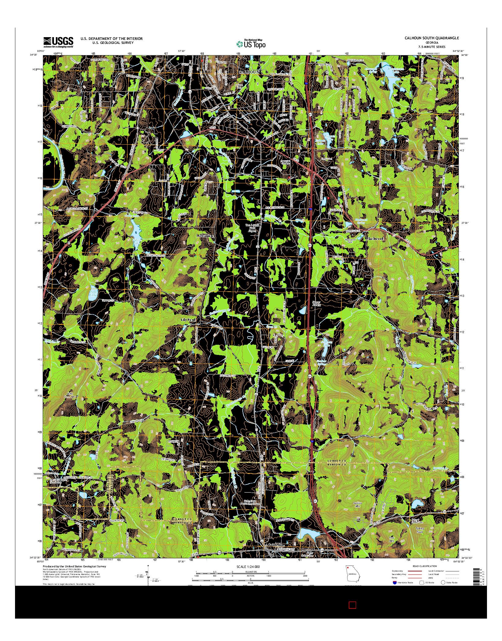 USGS US TOPO 7.5-MINUTE MAP FOR CALHOUN SOUTH, GA 2014