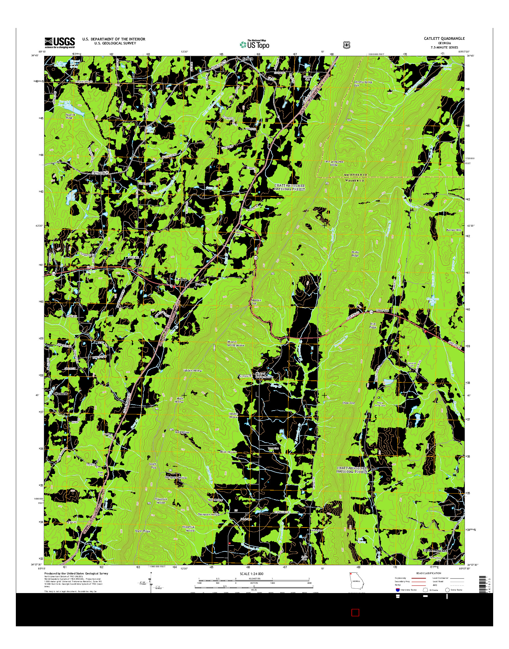 USGS US TOPO 7.5-MINUTE MAP FOR CATLETT, GA 2014