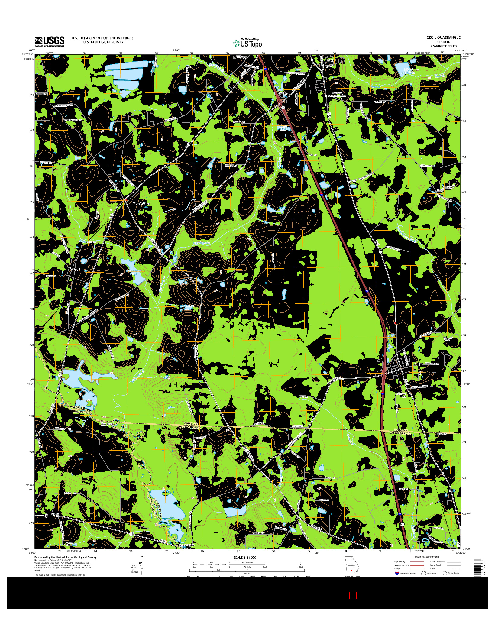 USGS US TOPO 7.5-MINUTE MAP FOR CECIL, GA 2014
