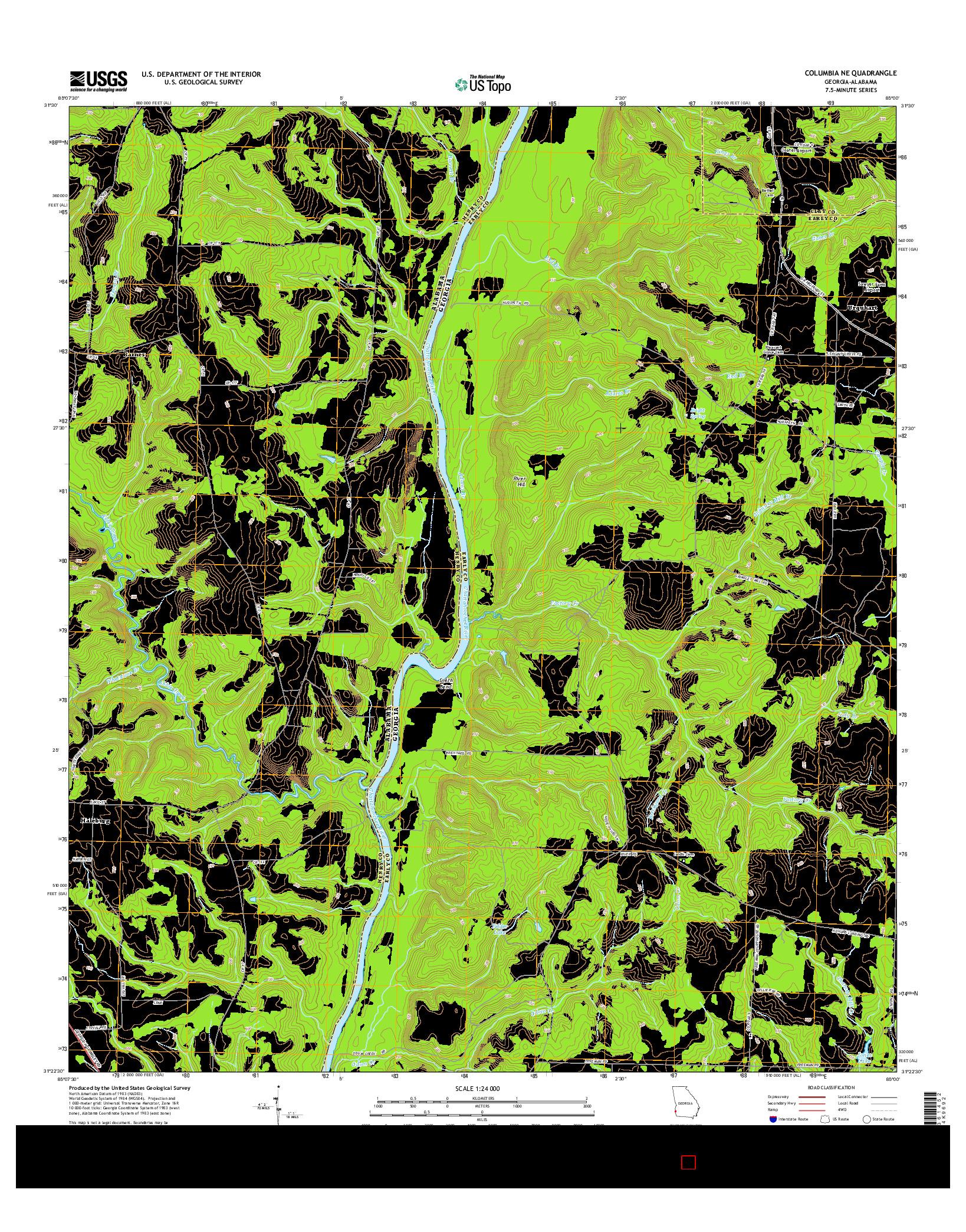 USGS US TOPO 7.5-MINUTE MAP FOR COLUMBIA NE, GA-AL 2014