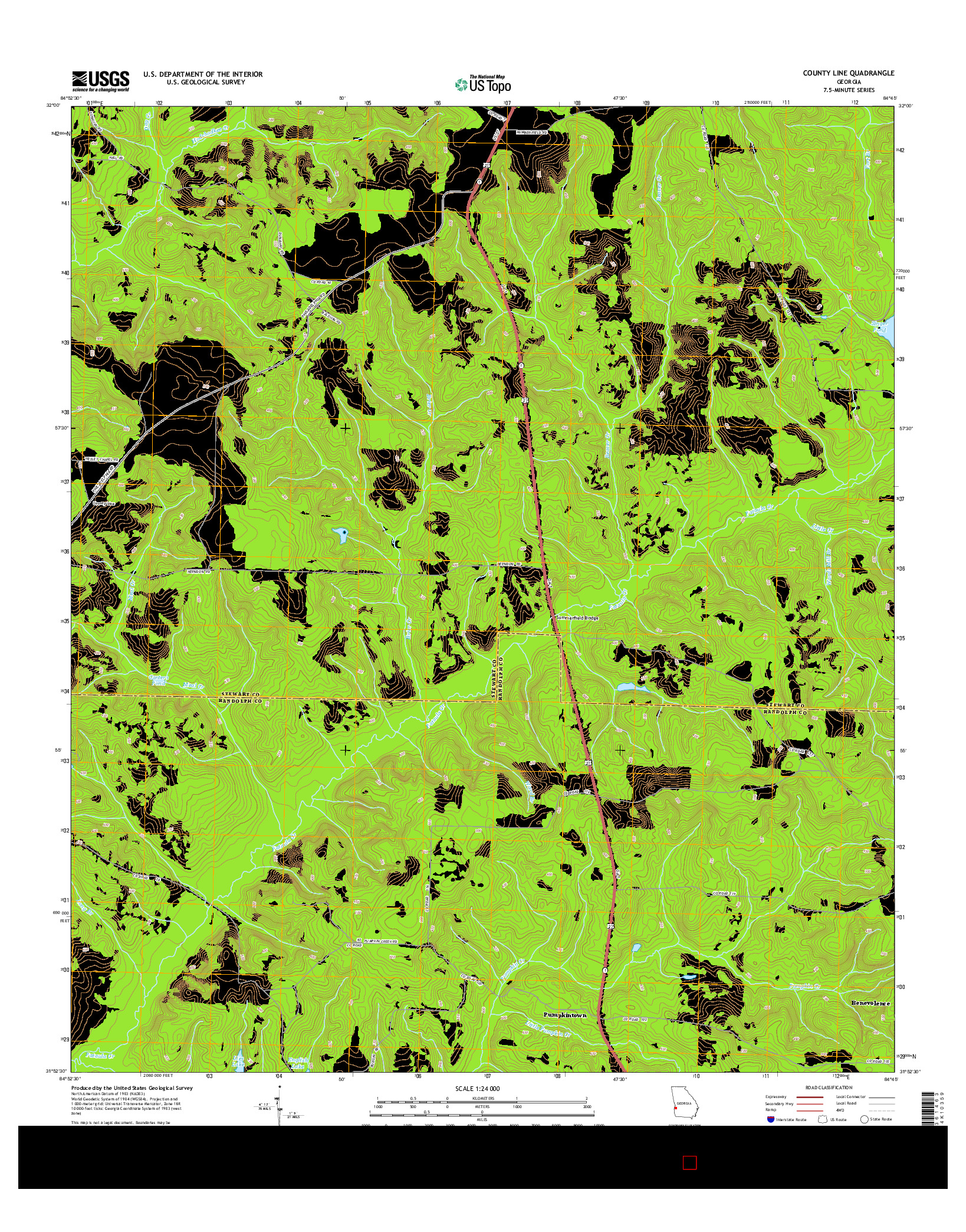 USGS US TOPO 7.5-MINUTE MAP FOR COUNTY LINE, GA 2014