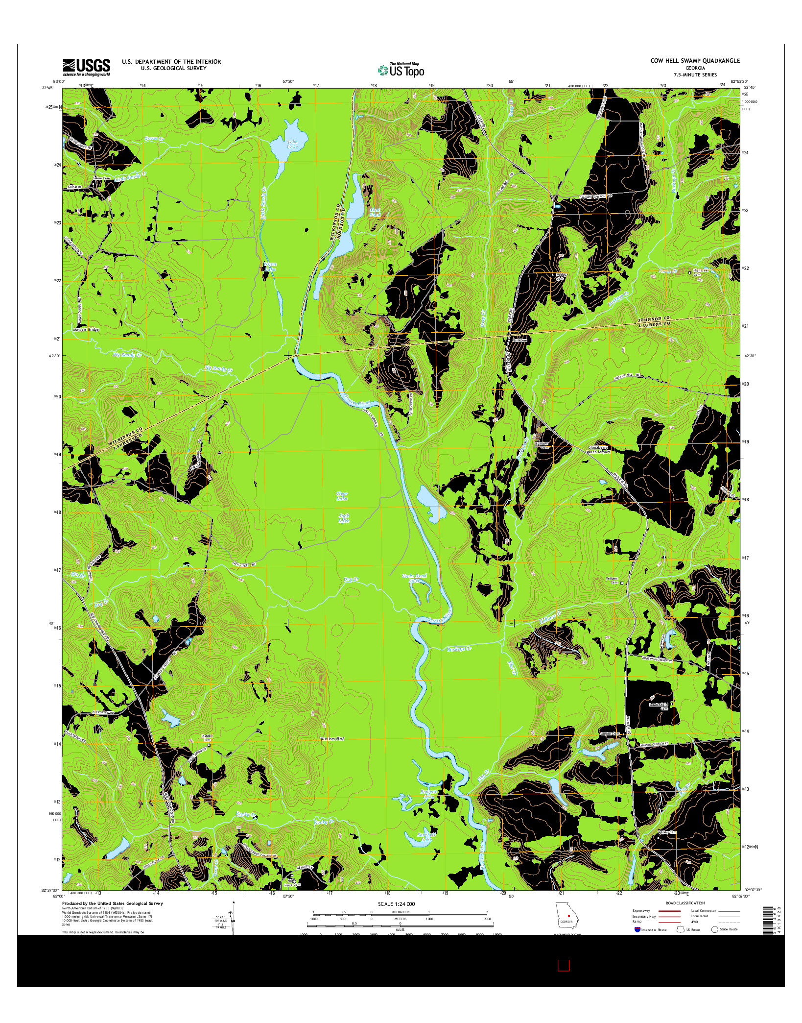 USGS US TOPO 7.5-MINUTE MAP FOR COW HELL SWAMP, GA 2014