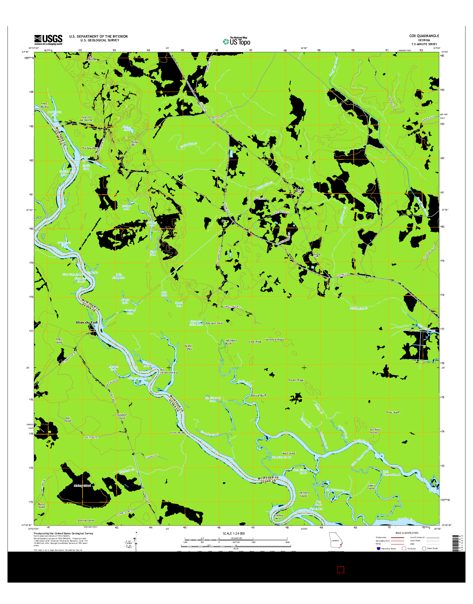 USGS US TOPO 7.5-MINUTE MAP FOR COX, GA 2014