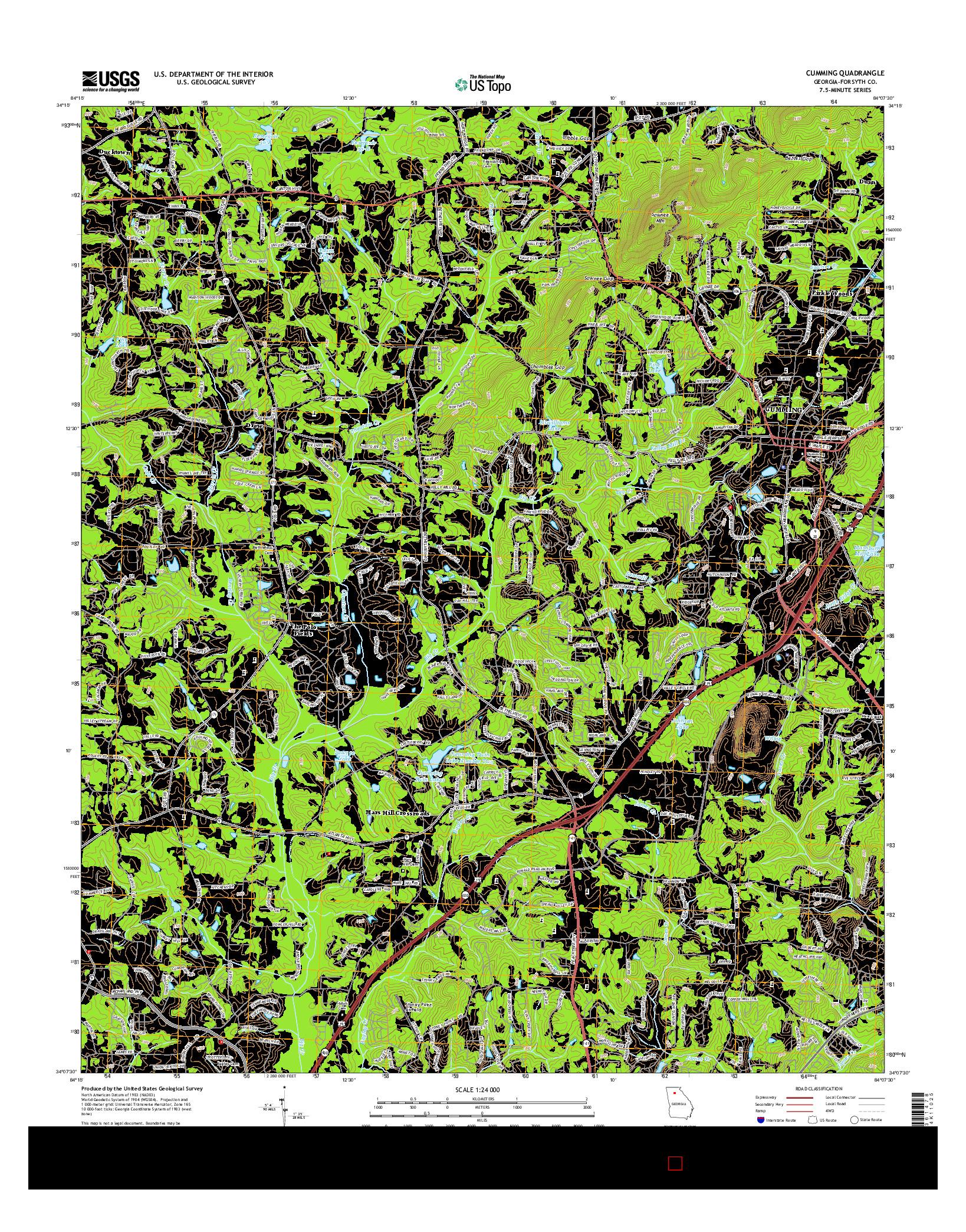 USGS US TOPO 7.5-MINUTE MAP FOR CUMMING, GA 2014