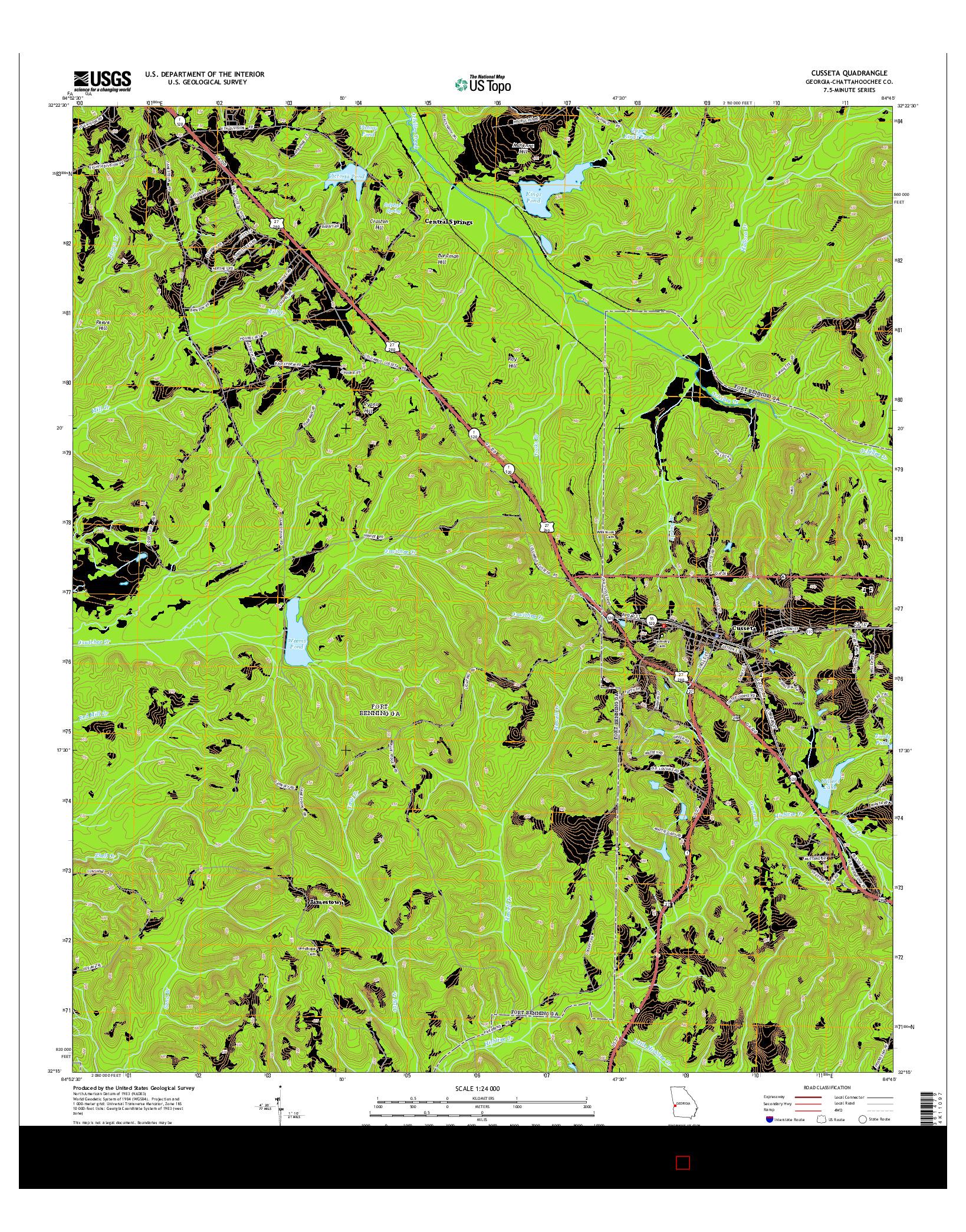 USGS US TOPO 7.5-MINUTE MAP FOR CUSSETA, GA 2014