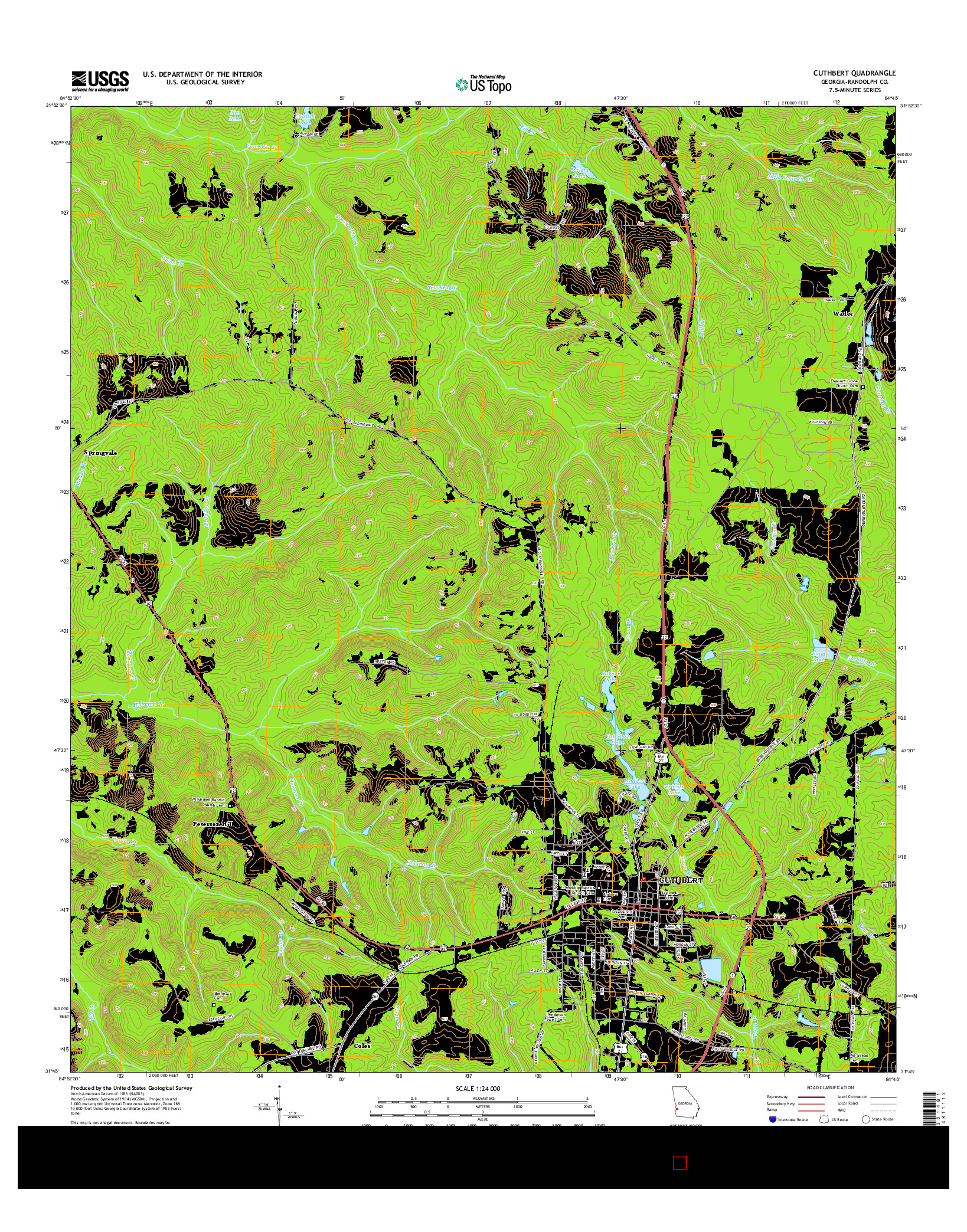USGS US TOPO 7.5-MINUTE MAP FOR CUTHBERT, GA 2014