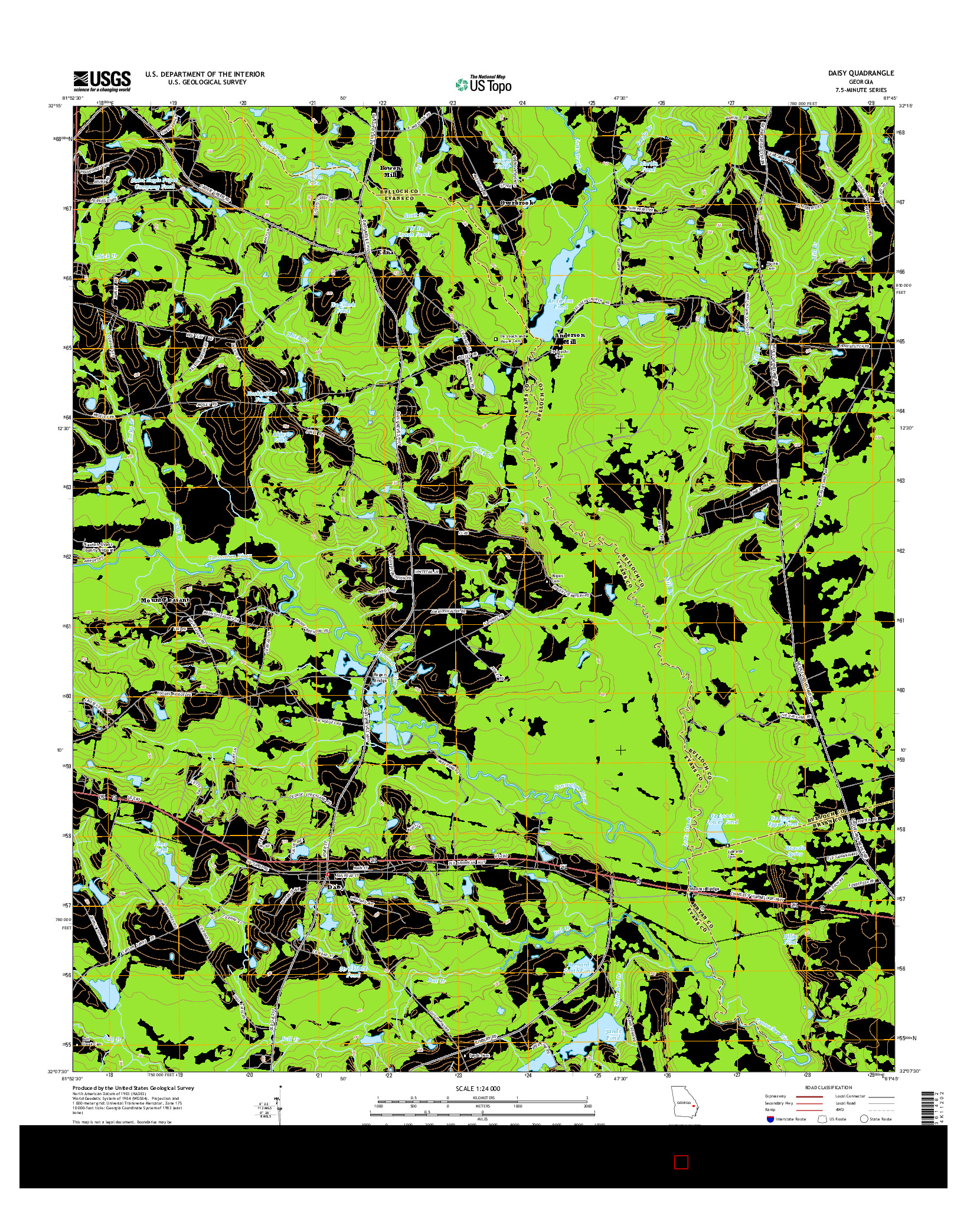 USGS US TOPO 7.5-MINUTE MAP FOR DAISY, GA 2014