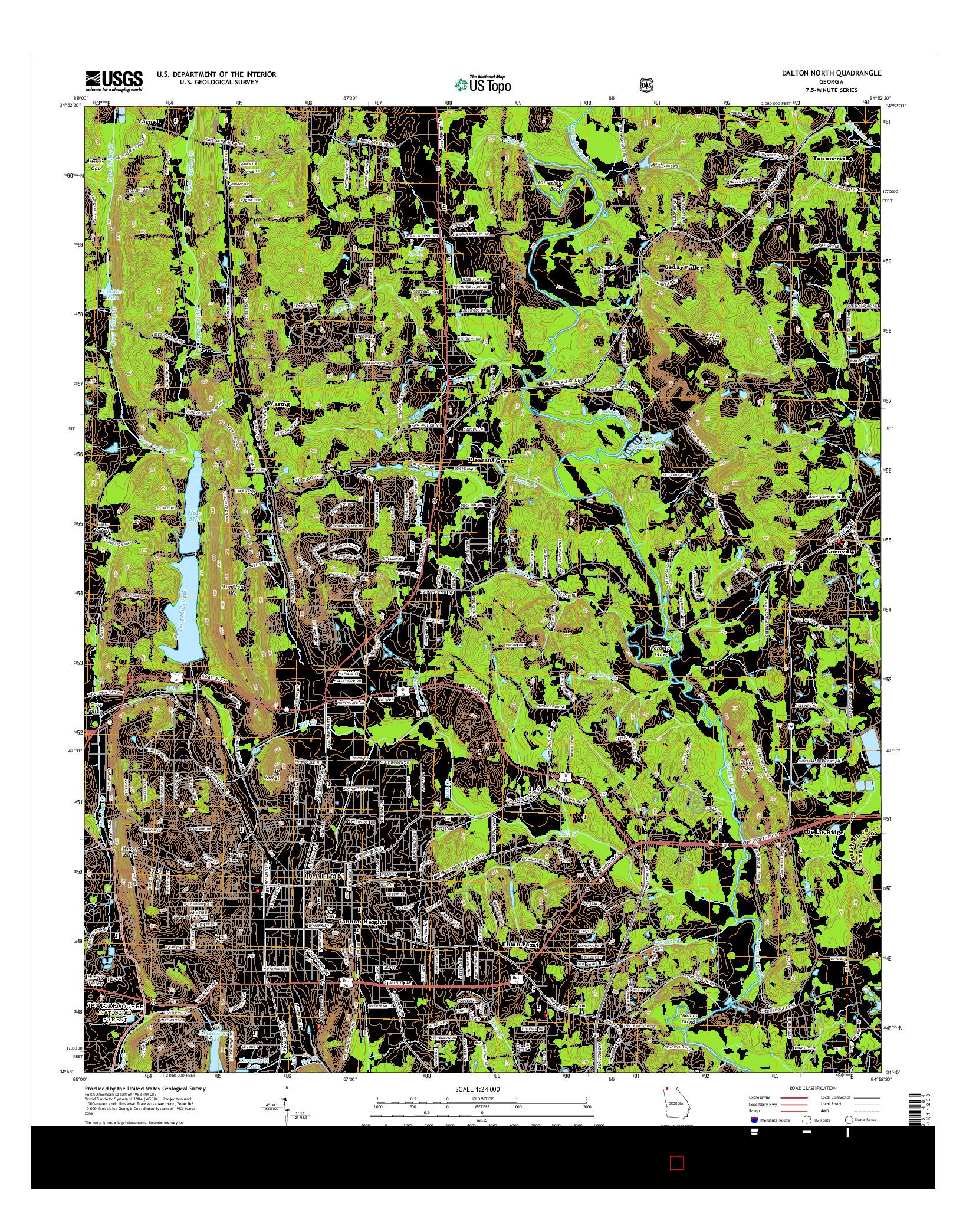 USGS US TOPO 7.5-MINUTE MAP FOR DALTON NORTH, GA 2014