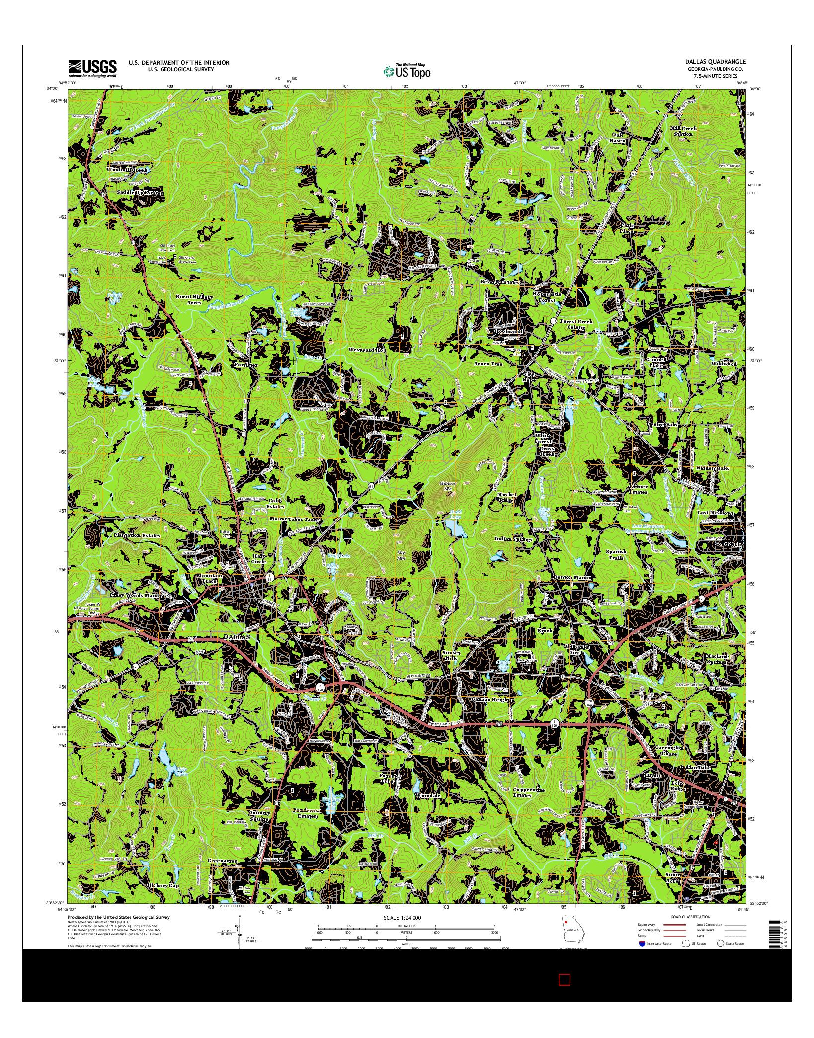 USGS US TOPO 7.5-MINUTE MAP FOR DALLAS, GA 2014