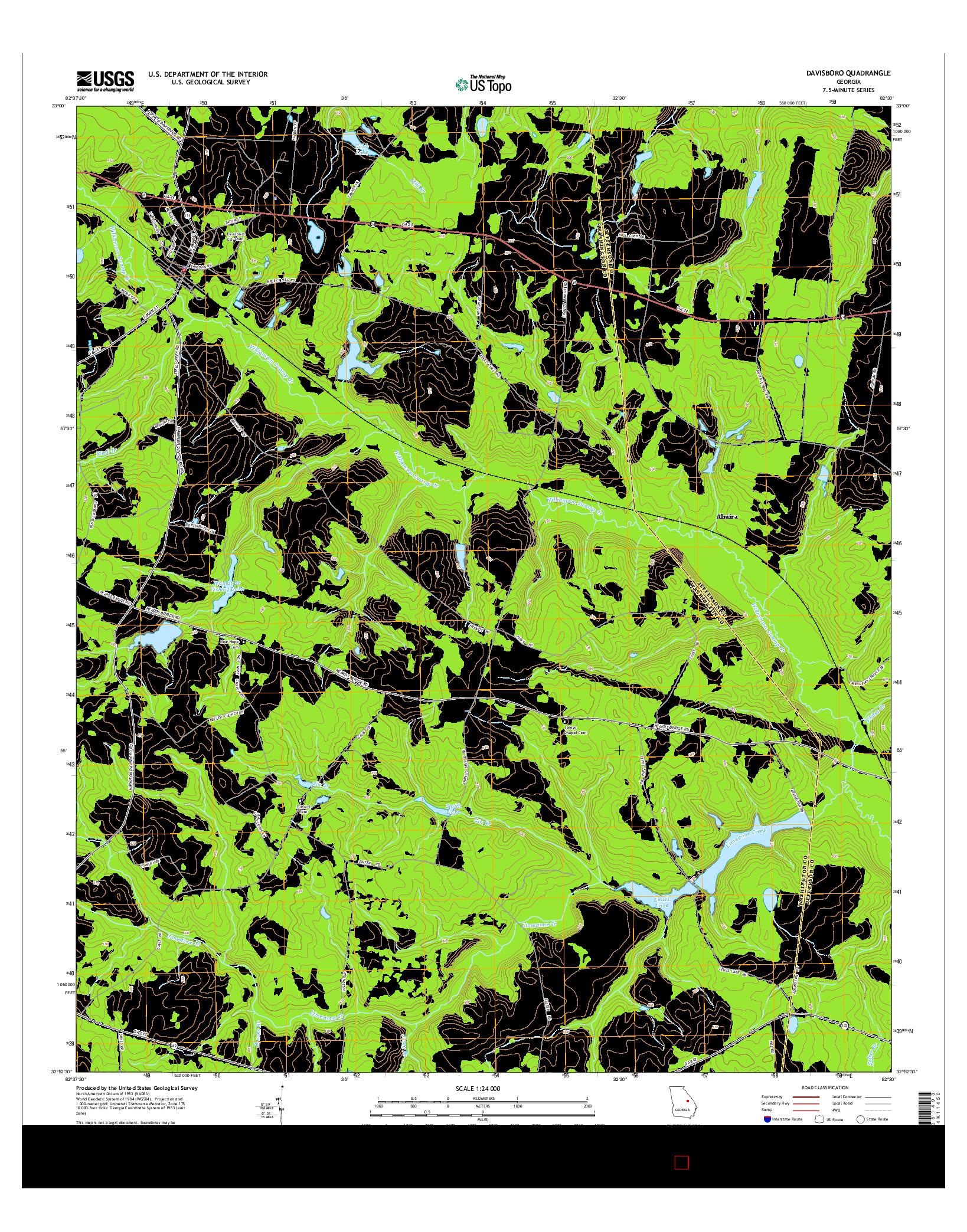 USGS US TOPO 7.5-MINUTE MAP FOR DAVISBORO, GA 2014