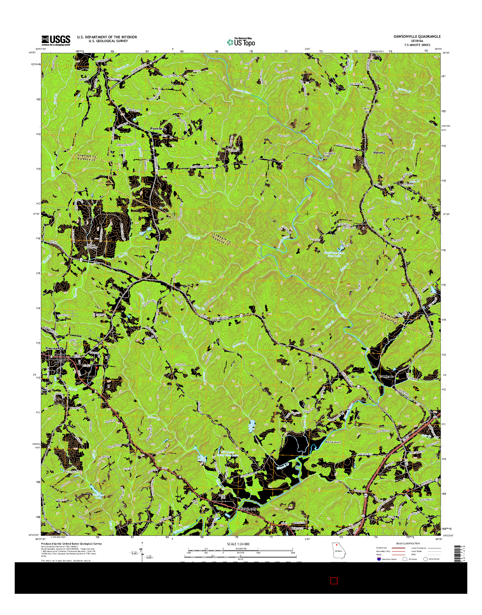 USGS US TOPO 7.5-MINUTE MAP FOR DAWSONVILLE, GA 2014
