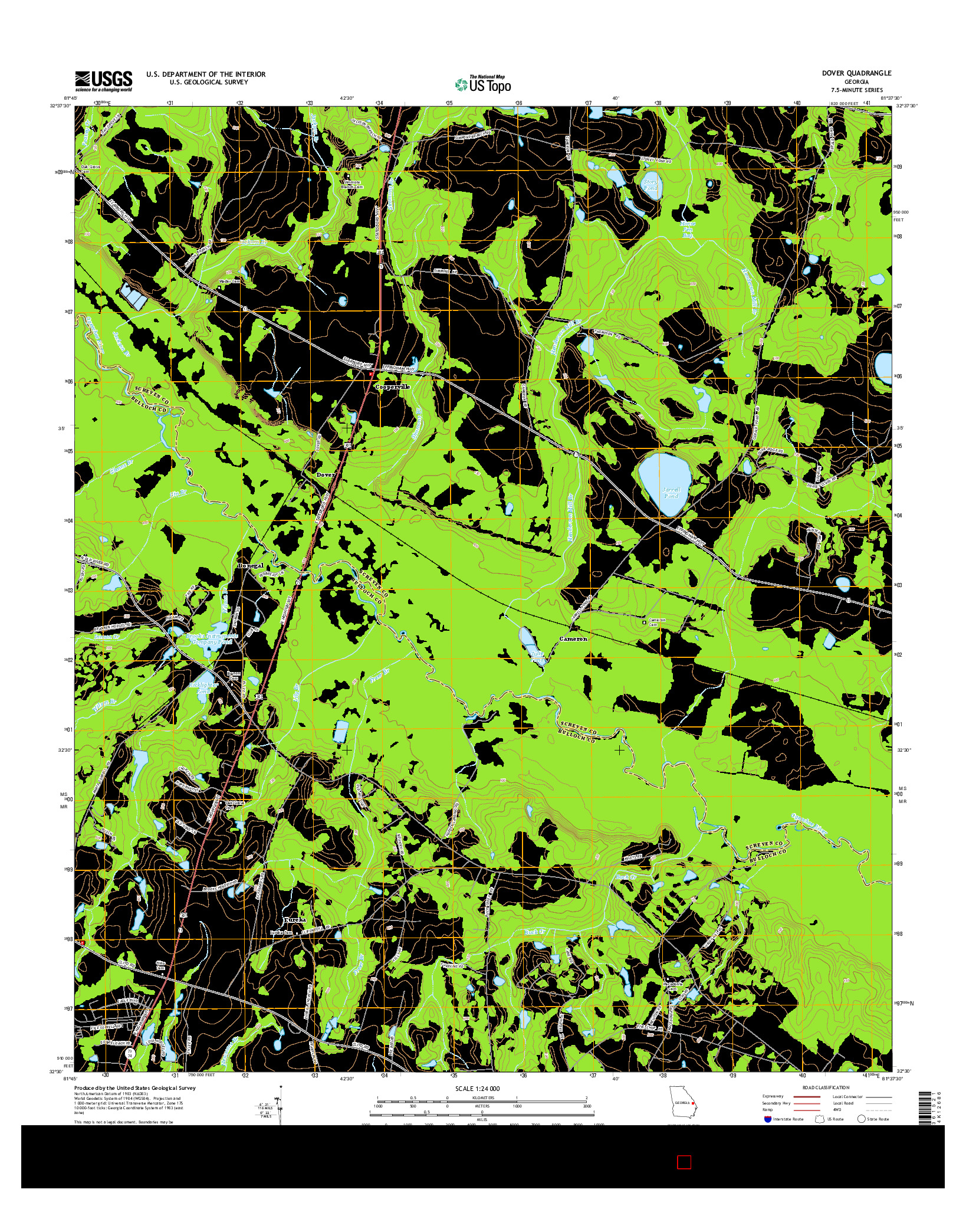USGS US TOPO 7.5-MINUTE MAP FOR DOVER, GA 2014