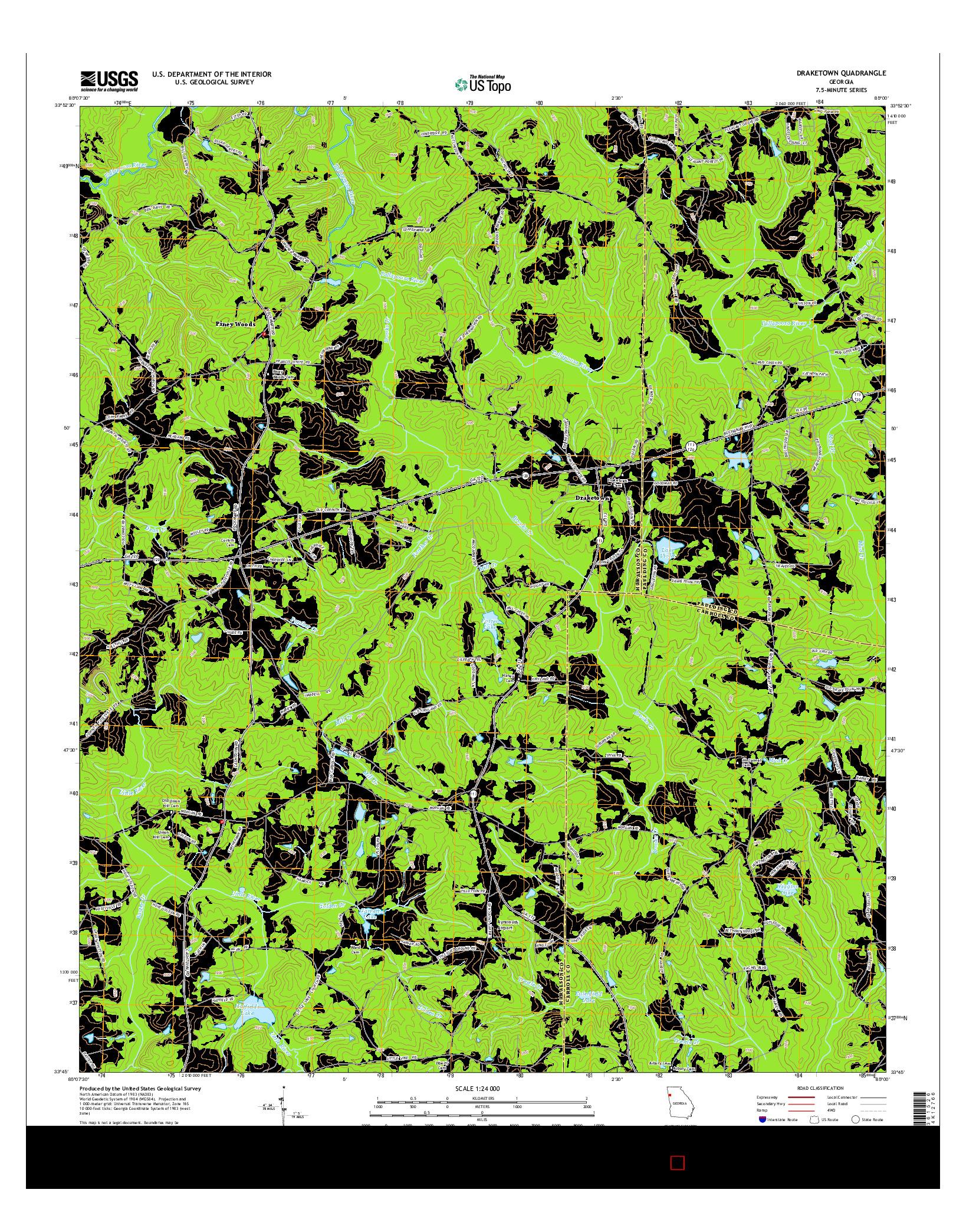 USGS US TOPO 7.5-MINUTE MAP FOR DRAKETOWN, GA 2014