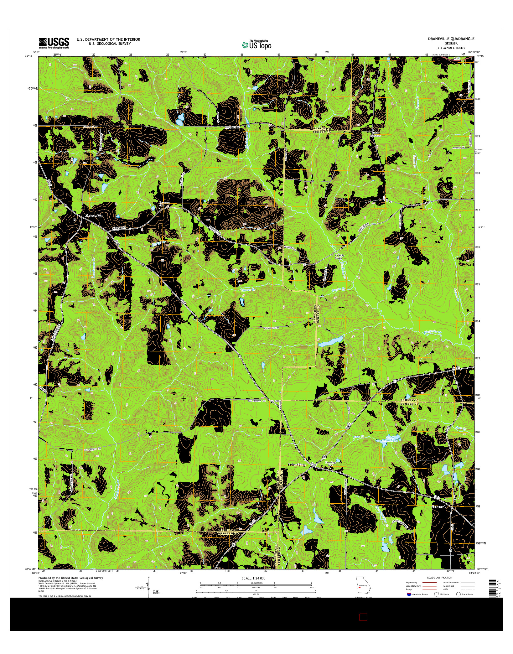 USGS US TOPO 7.5-MINUTE MAP FOR DRANEVILLE, GA 2014