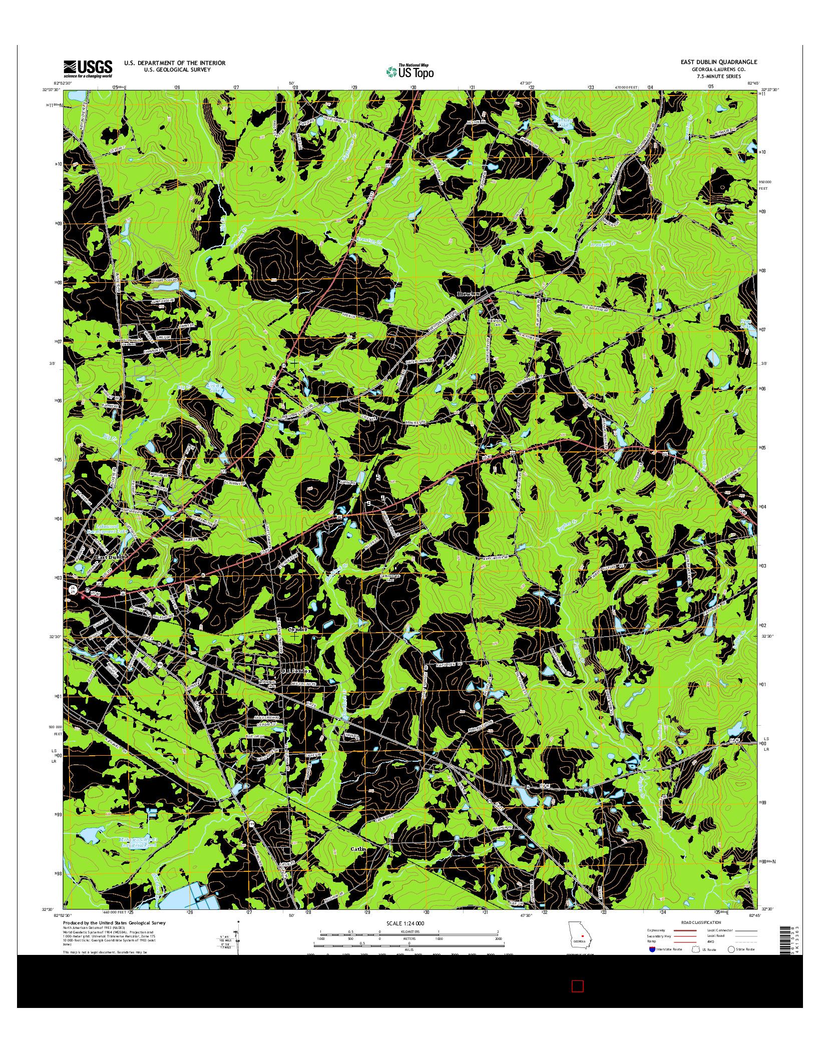 USGS US TOPO 7.5-MINUTE MAP FOR EAST DUBLIN, GA 2014