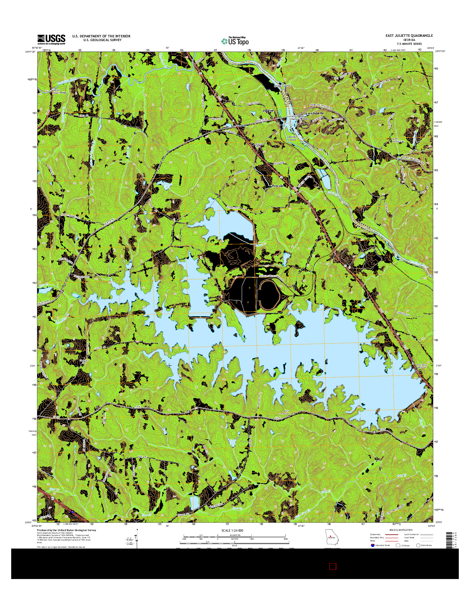 USGS US TOPO 7.5-MINUTE MAP FOR EAST JULIETTE, GA 2014