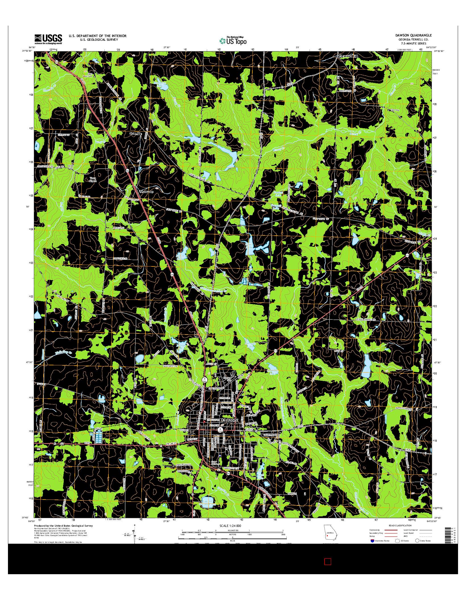 USGS US TOPO 7.5-MINUTE MAP FOR DAWSON, GA 2014