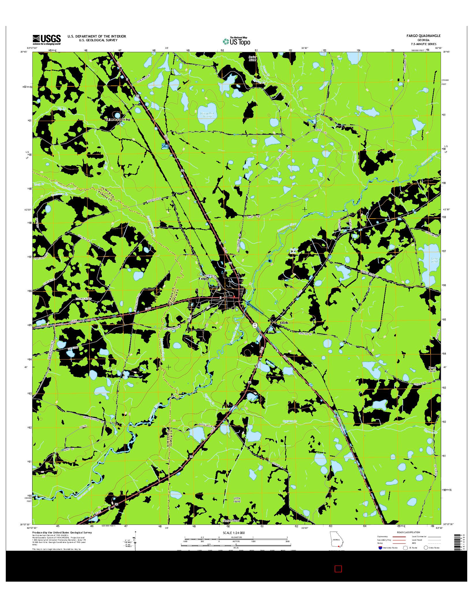 USGS US TOPO 7.5-MINUTE MAP FOR FARGO, GA 2014