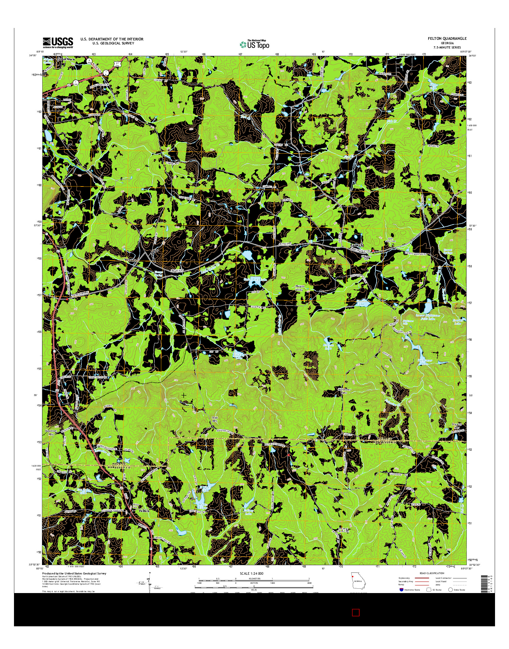 USGS US TOPO 7.5-MINUTE MAP FOR FELTON, GA 2014