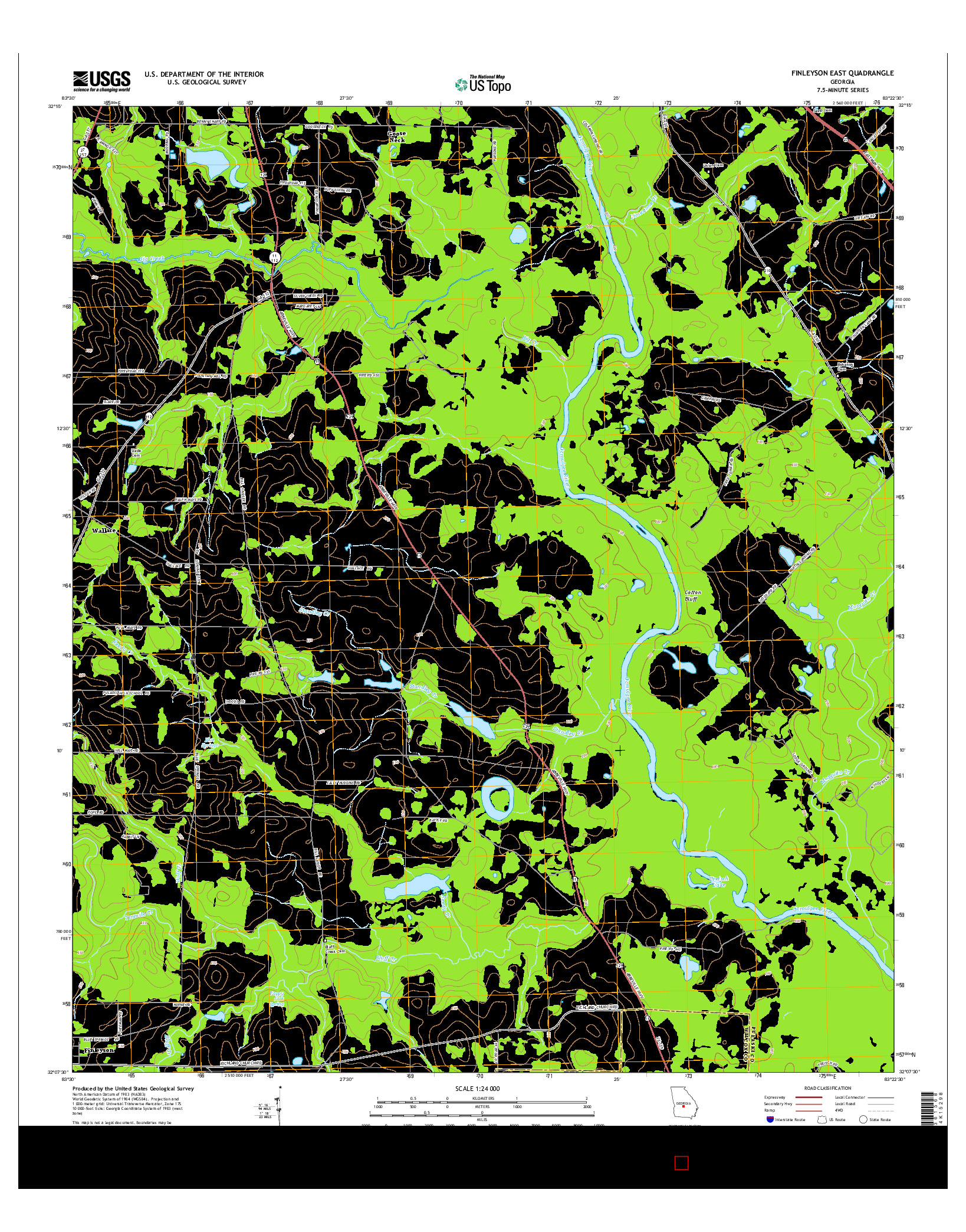 USGS US TOPO 7.5-MINUTE MAP FOR FINLEYSON EAST, GA 2014