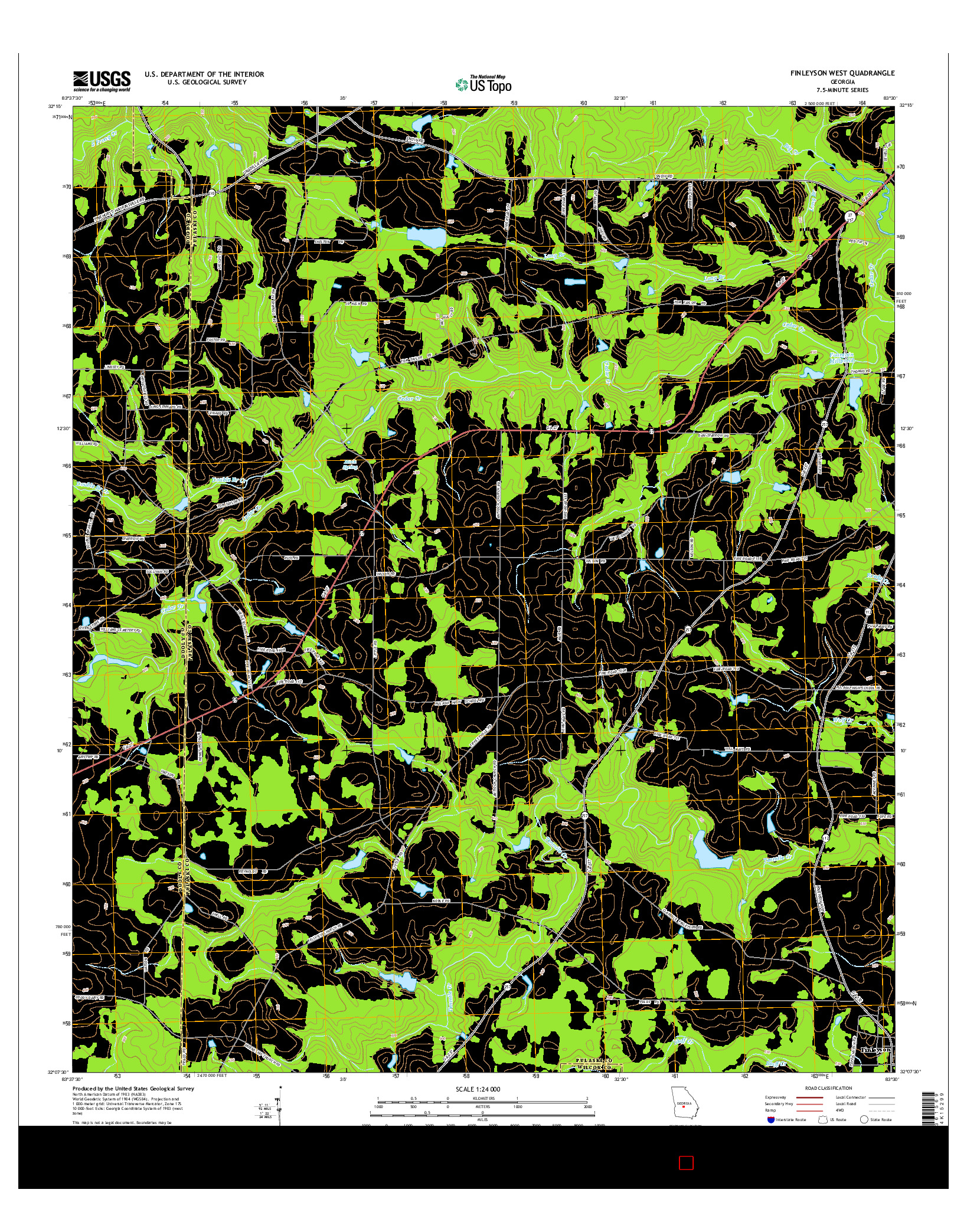 USGS US TOPO 7.5-MINUTE MAP FOR FINLEYSON WEST, GA 2014