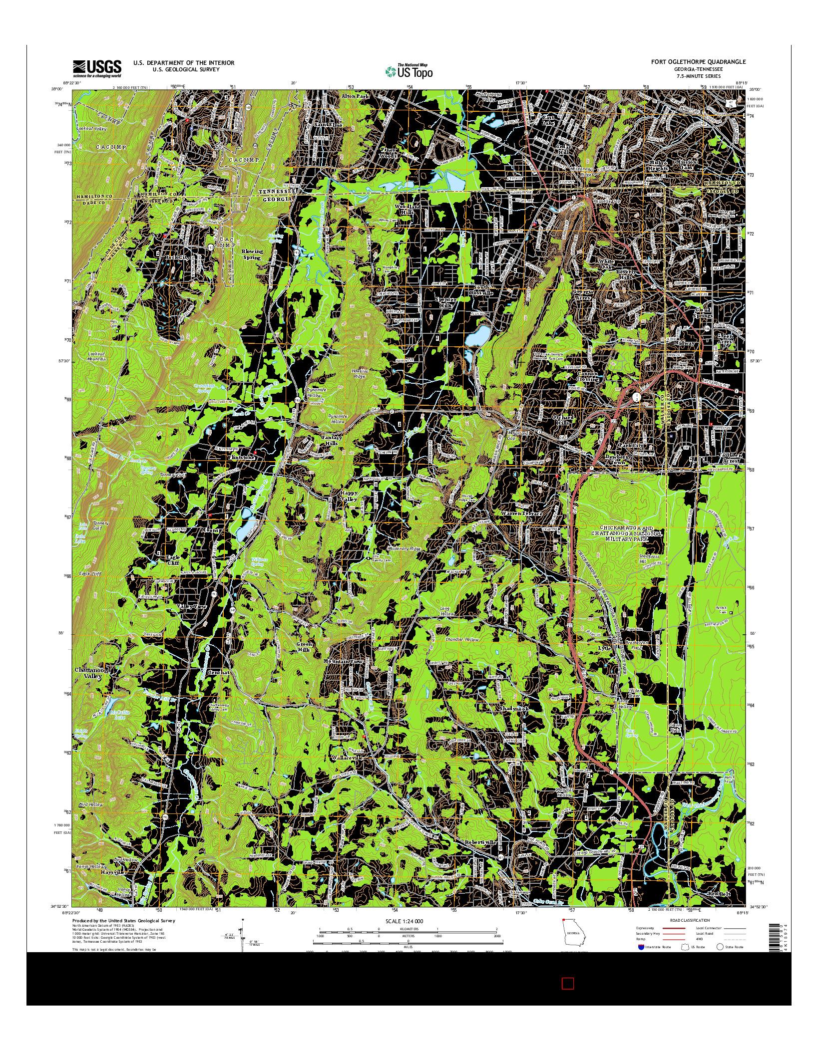 USGS US TOPO 7.5-MINUTE MAP FOR FORT OGLETHORPE, GA-TN 2014
