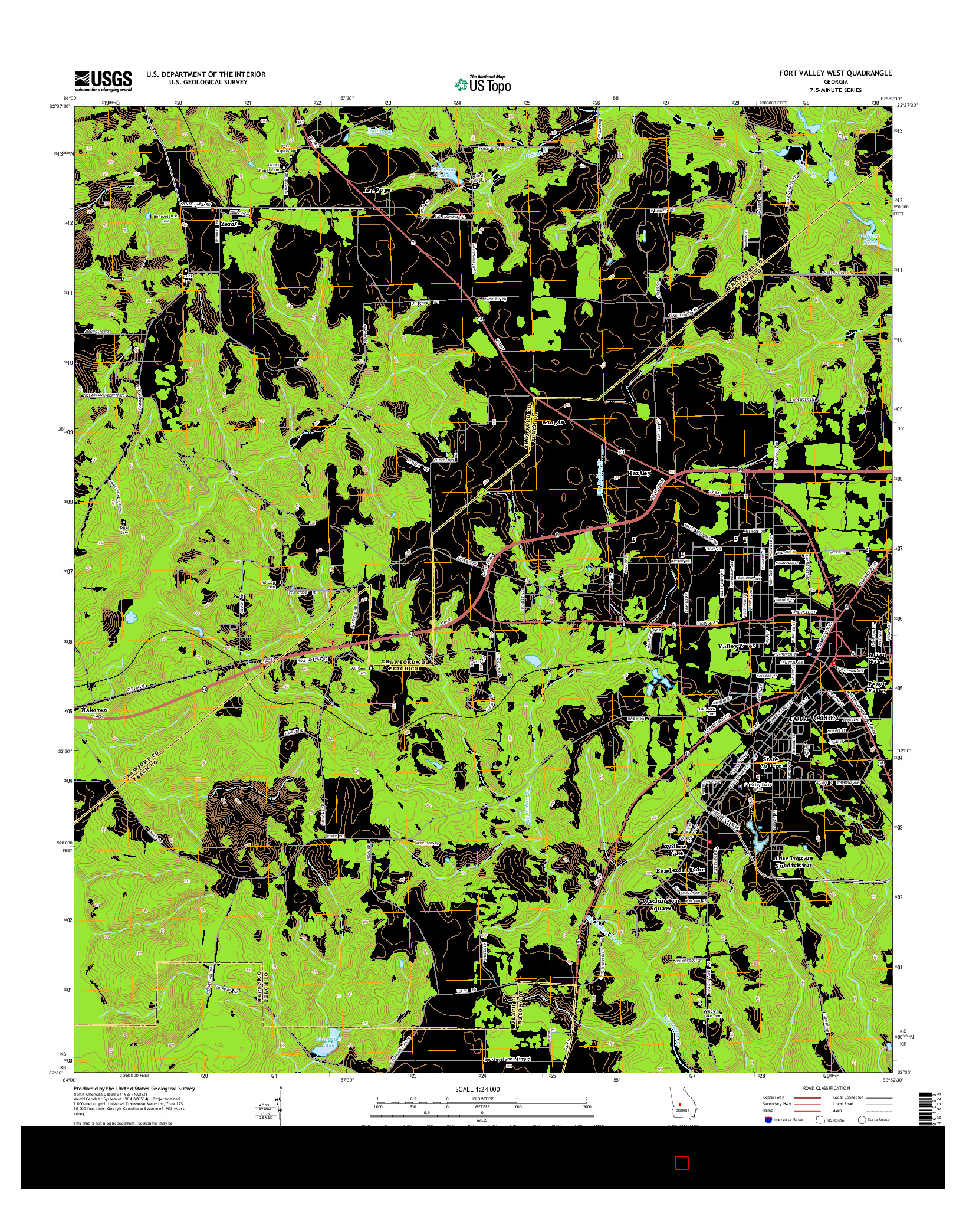 USGS US TOPO 7.5-MINUTE MAP FOR FORT VALLEY WEST, GA 2014