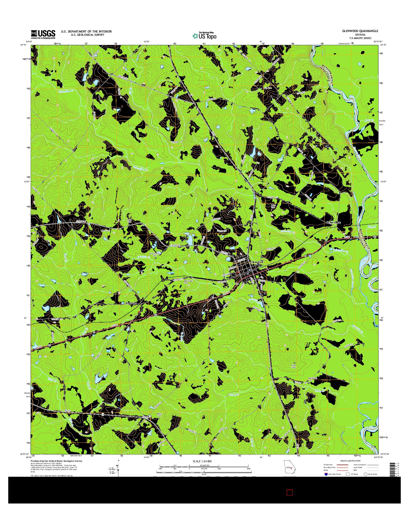 USGS US TOPO 7.5-MINUTE MAP FOR GLENWOOD, GA 2014