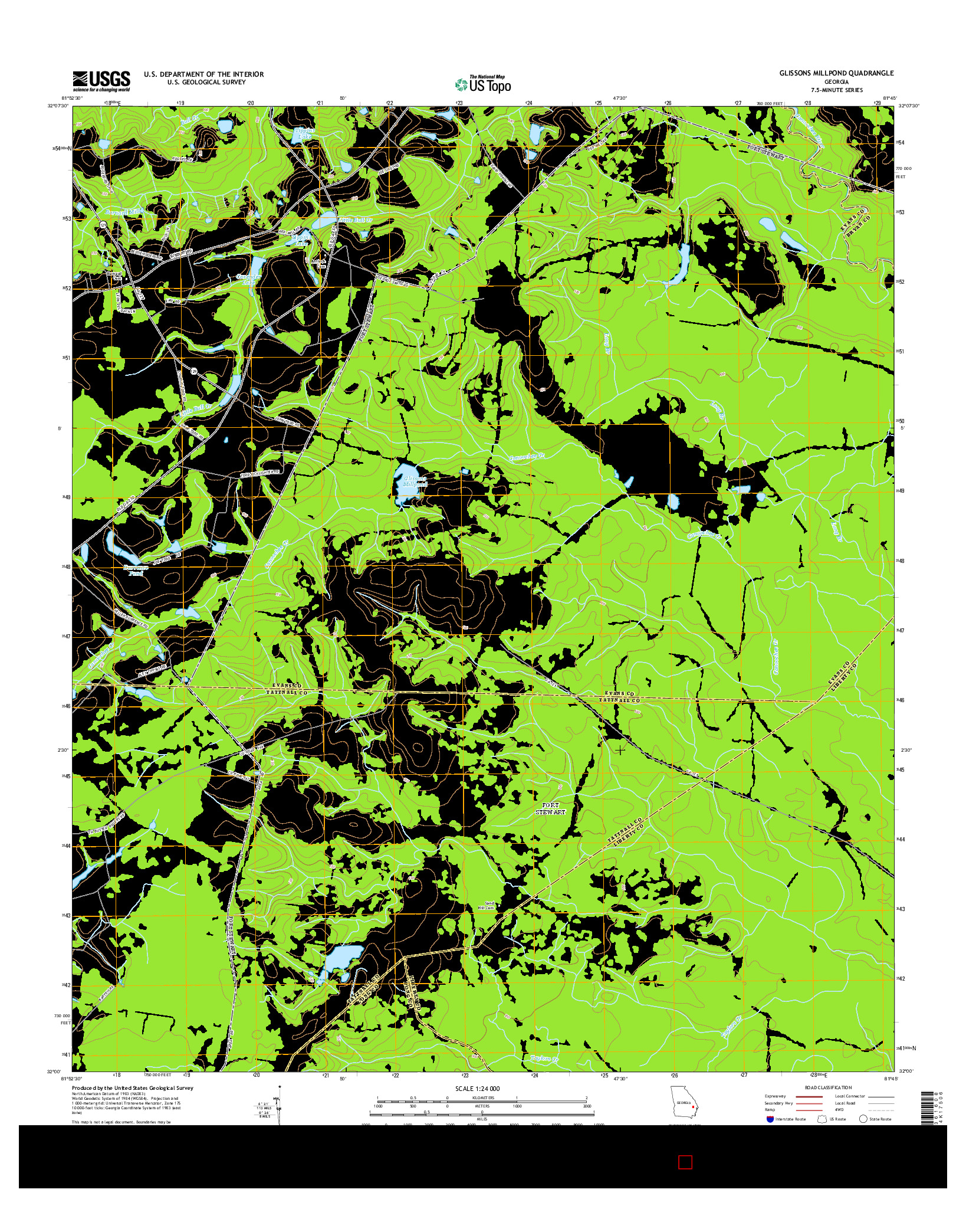 USGS US TOPO 7.5-MINUTE MAP FOR GLISSONS MILLPOND, GA 2014