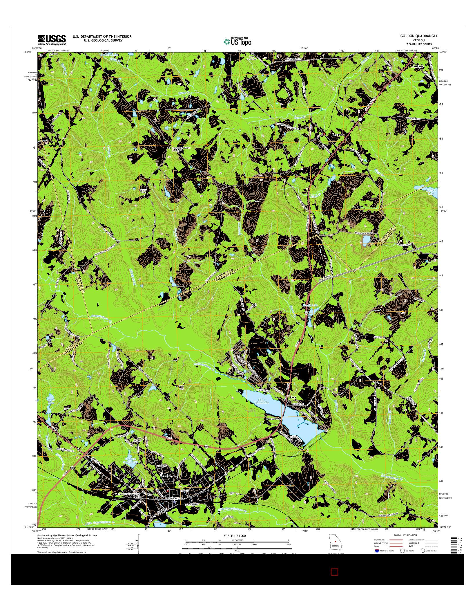 USGS US TOPO 7.5-MINUTE MAP FOR GORDON, GA 2014