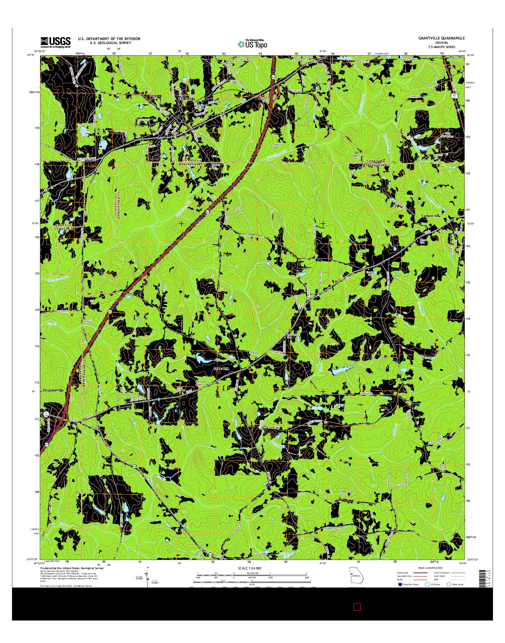 USGS US TOPO 7.5-MINUTE MAP FOR GRANTVILLE, GA 2014