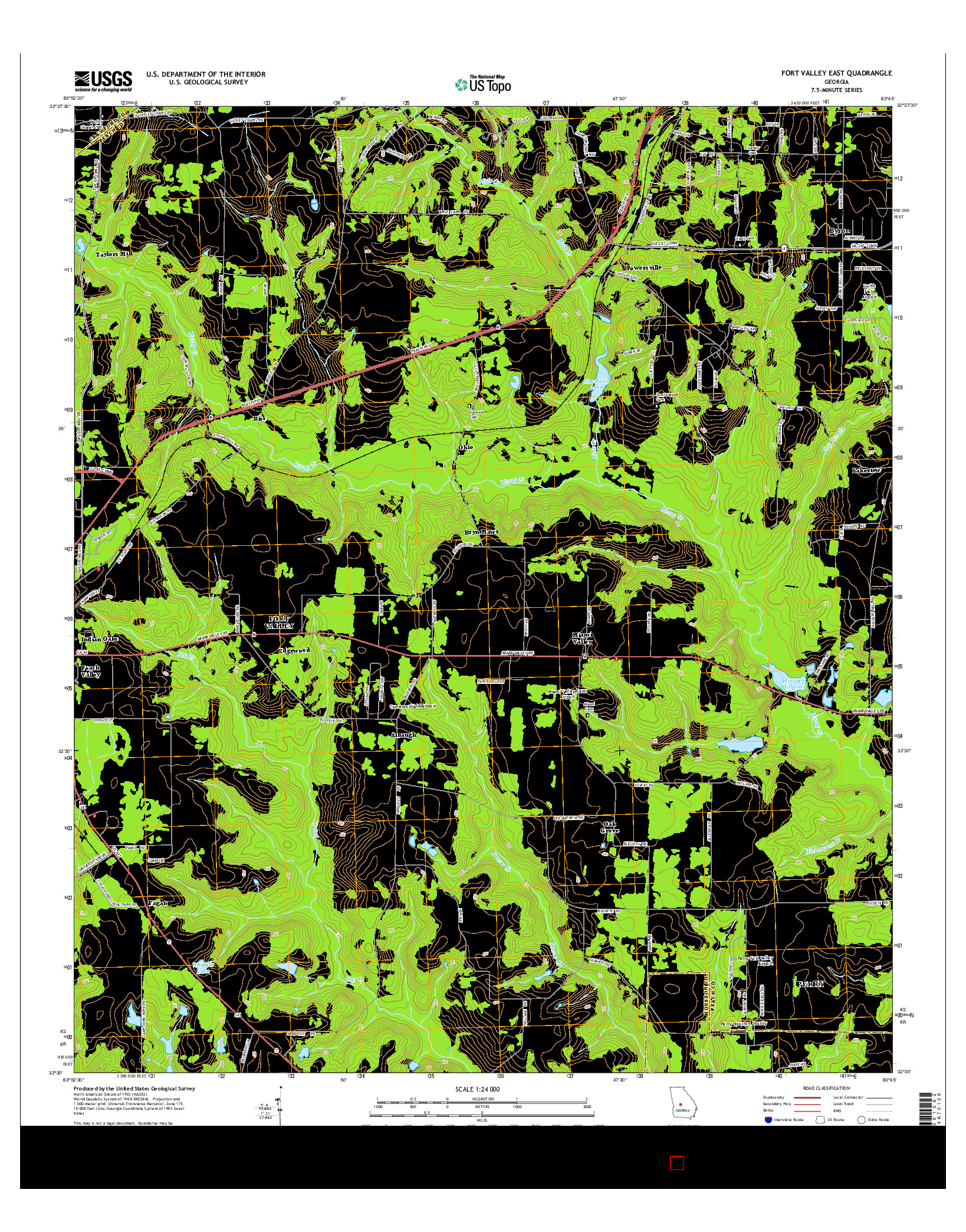 USGS US TOPO 7.5-MINUTE MAP FOR FORT VALLEY EAST, GA 2014