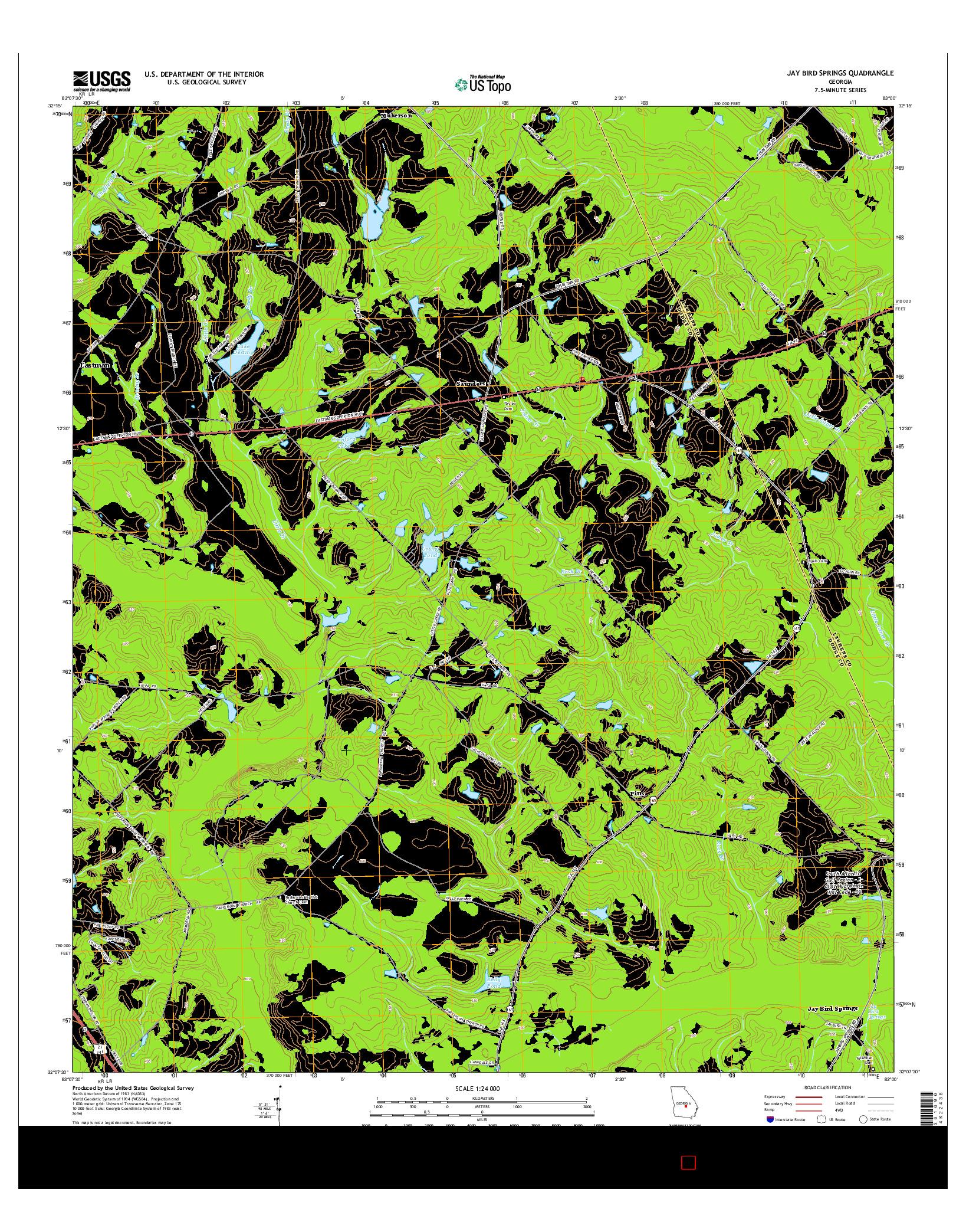 USGS US TOPO 7.5-MINUTE MAP FOR JAY BIRD SPRINGS, GA 2014