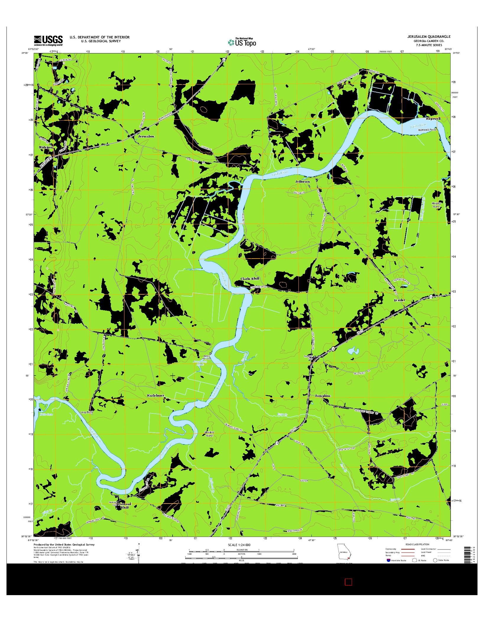USGS US TOPO 7.5-MINUTE MAP FOR JERUSALEM, GA 2014